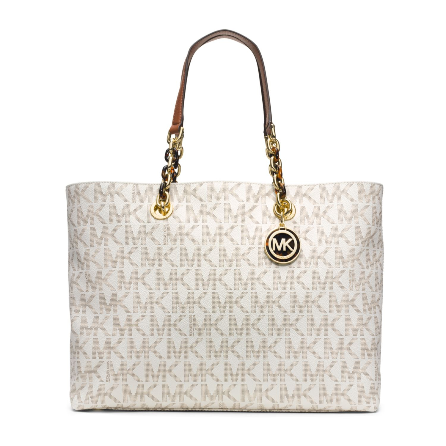 lyst michael kors cynthia logo large tote in white rh lyst com