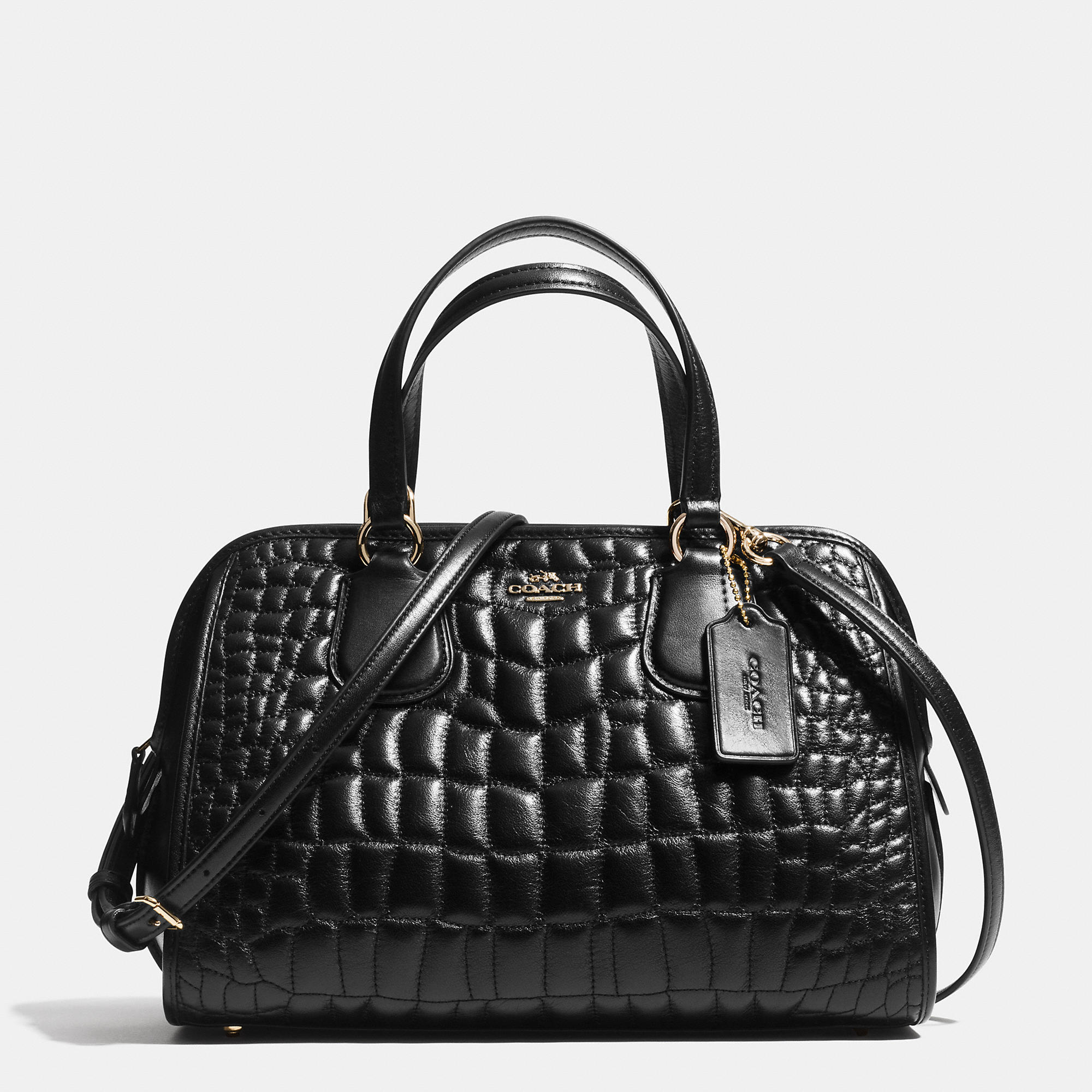 Lyst Coach Nolita Satchel In Quilted Croc Leather In Black