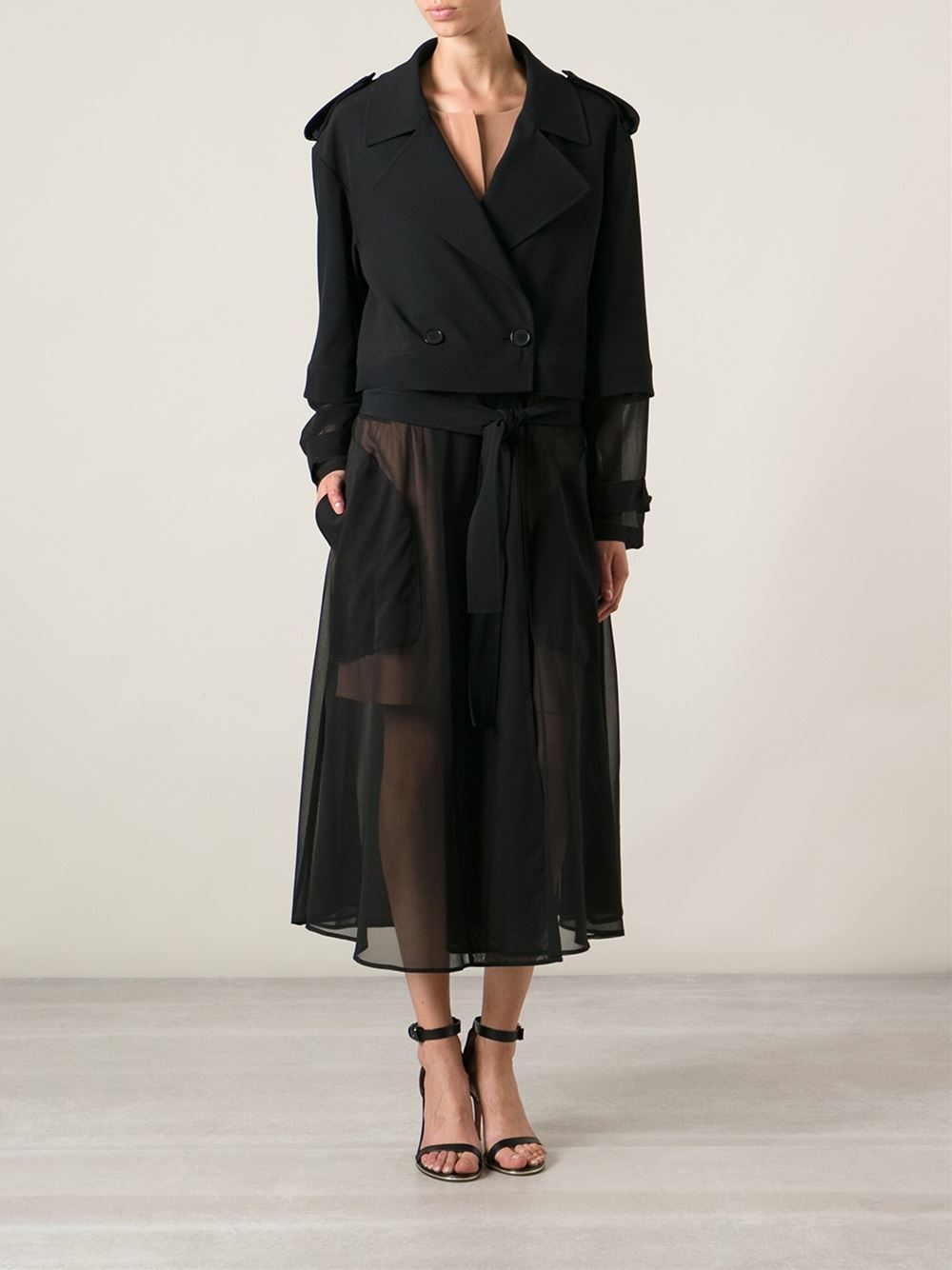 Dkny Sheer Long Trench Coat In Black Lyst
