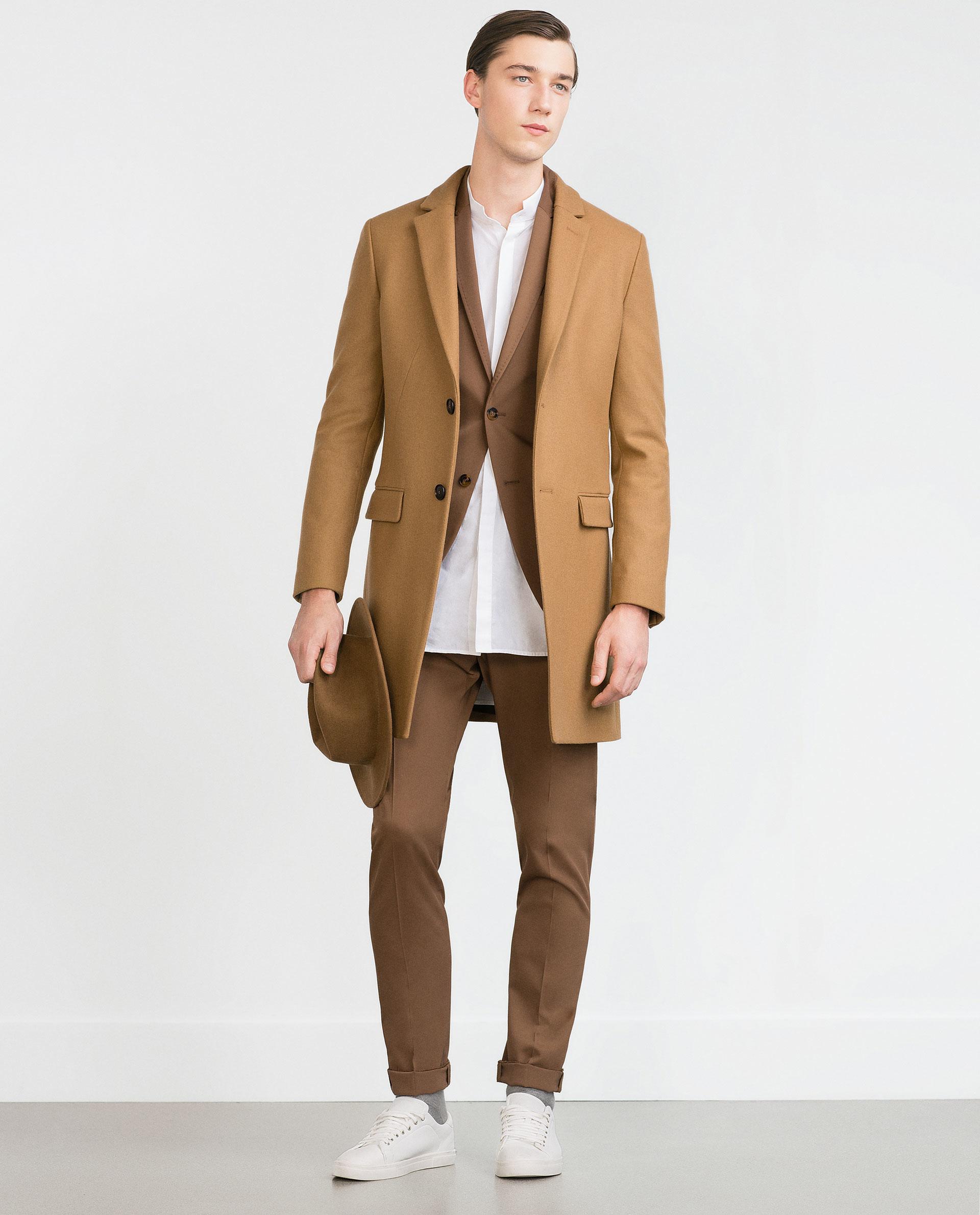 Zara Camel Coat in Natural for Men | Lyst
