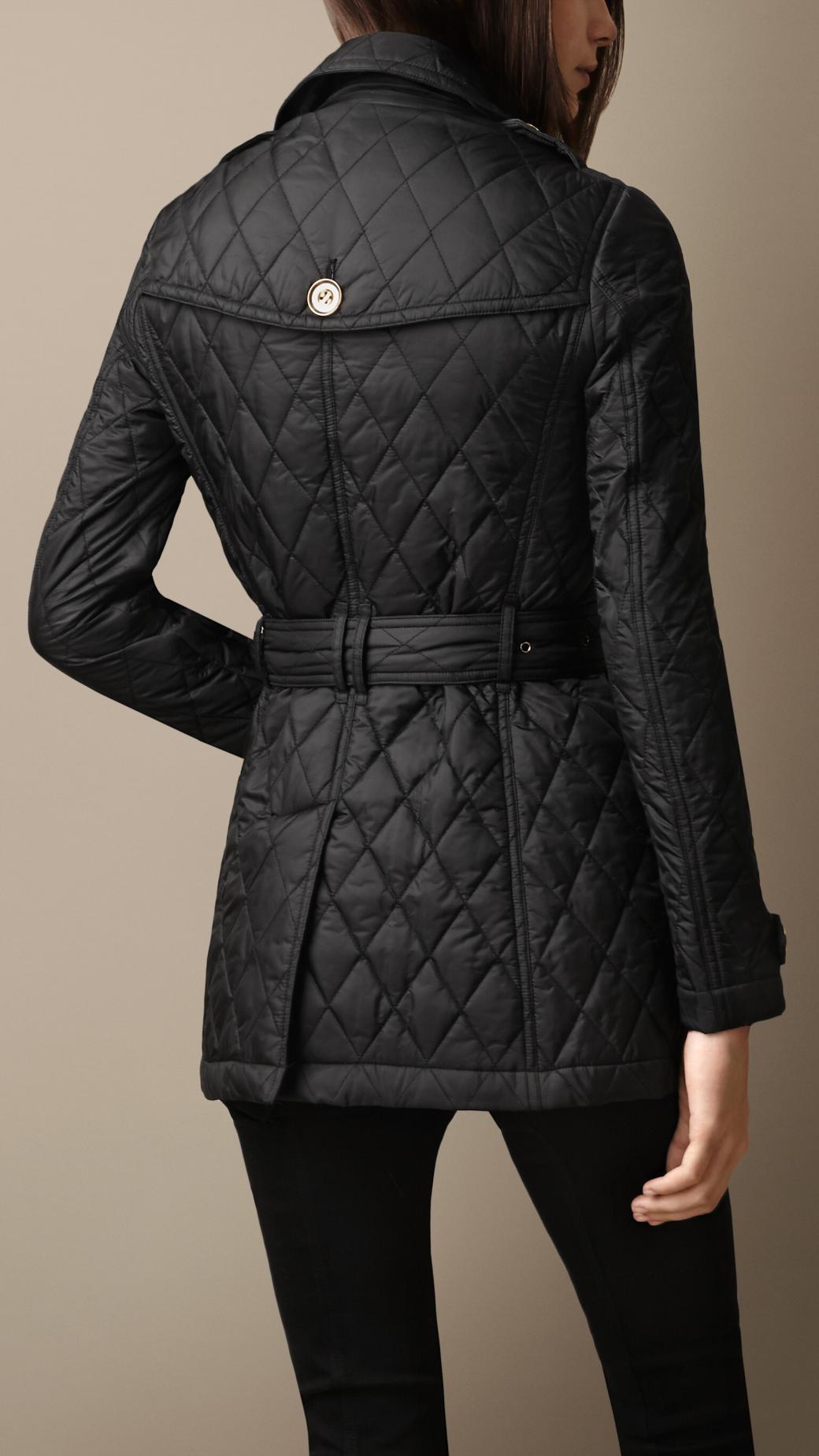 Burberry Heritage Diamond Quilted Coat in Black | Lyst : burberry diamond quilted jacket sale - Adamdwight.com