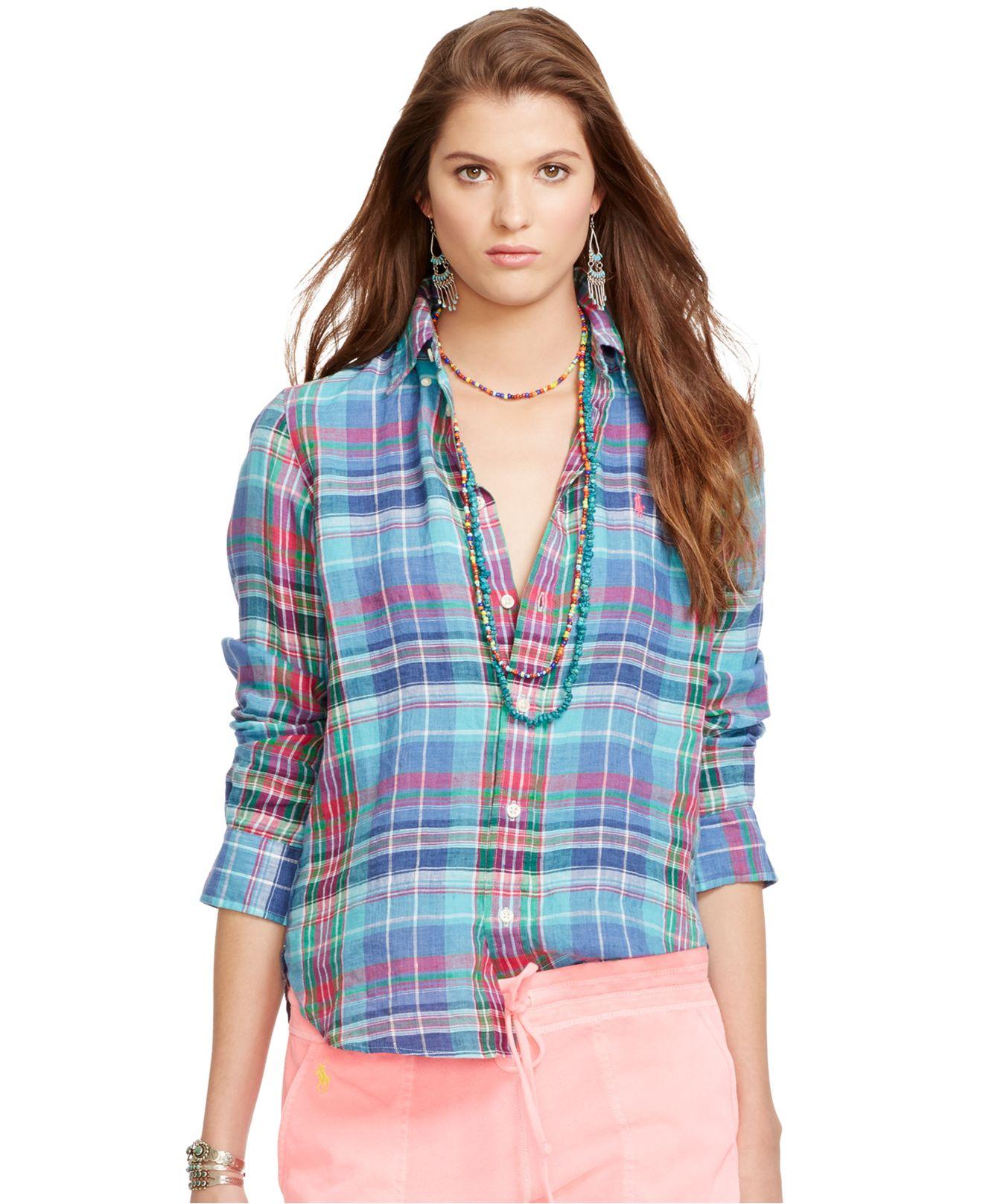 Polo ralph lauren Plaid Linen Shirt in Blue | Lyst