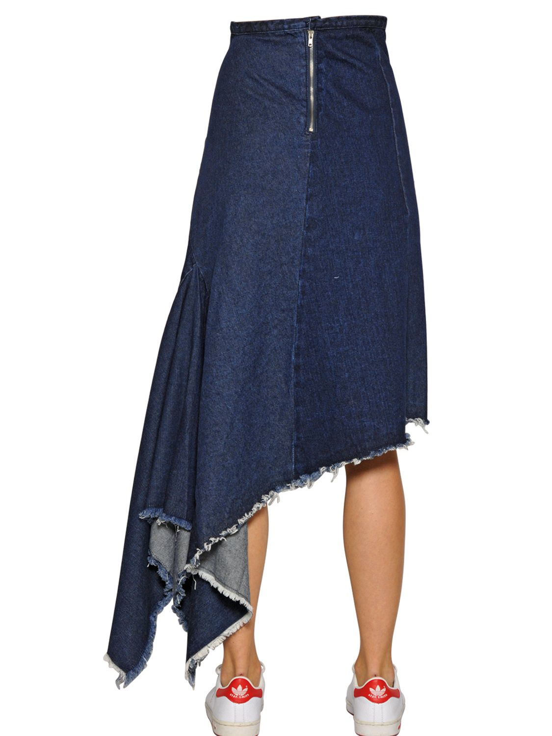 tpn asymmetrical frayed cotton denim skirt in blue lyst