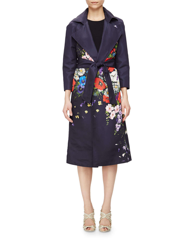 Oscar de la renta Floral-Print Gazar Trench Coat in Purple ...