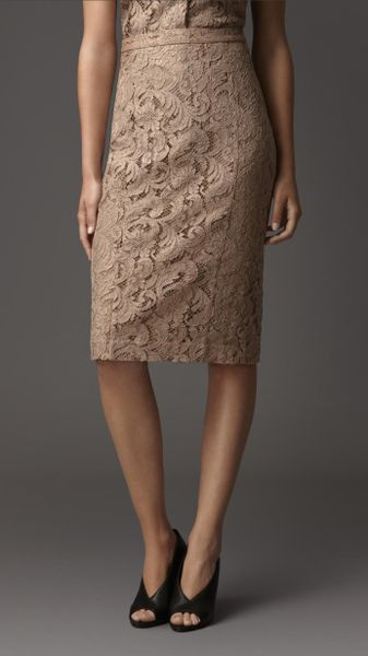 burberry lace pencil skirt in beige taupe lyst