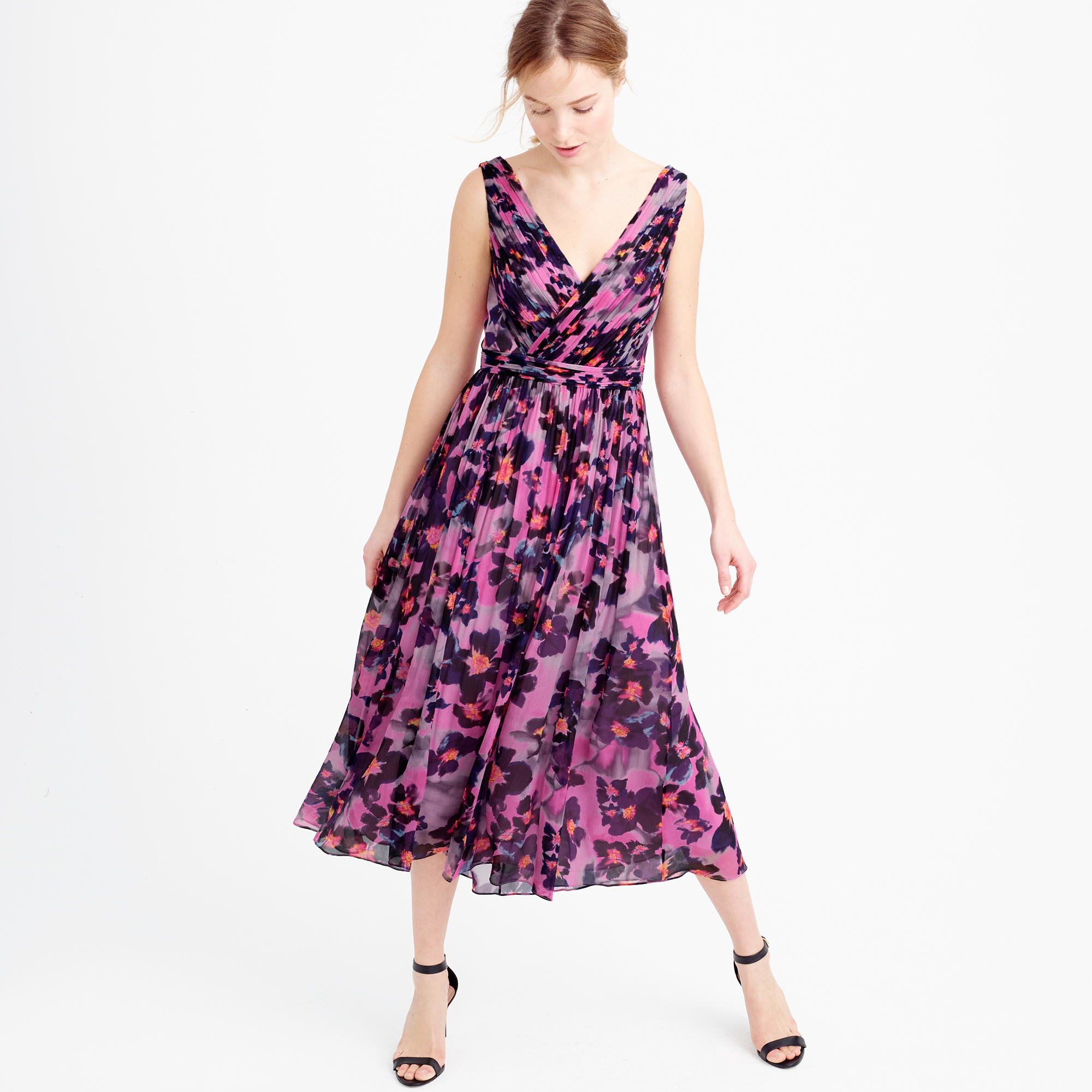 Lyst - J.Crew Collection Silk Chiffon Dress In Watercolor Floral 06e92736c