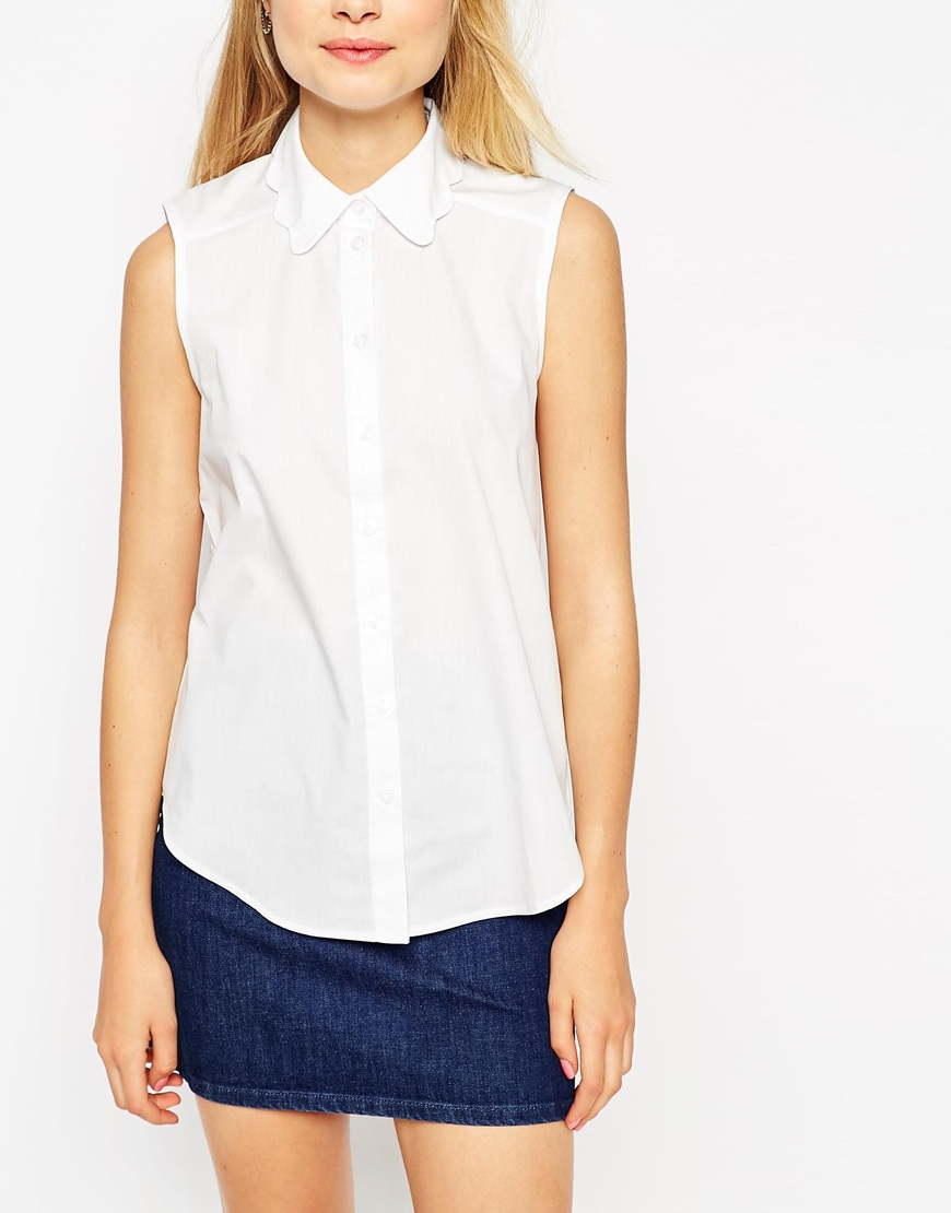 lyst asos sleeveless white shirt with scallop collar in