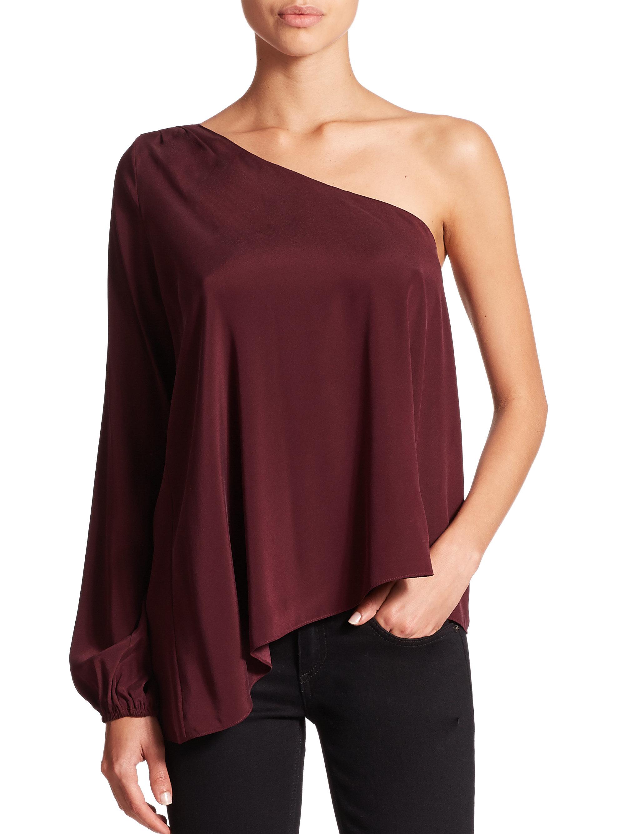 lyst ramy brook kanye one shoulder blouse in red. Black Bedroom Furniture Sets. Home Design Ideas