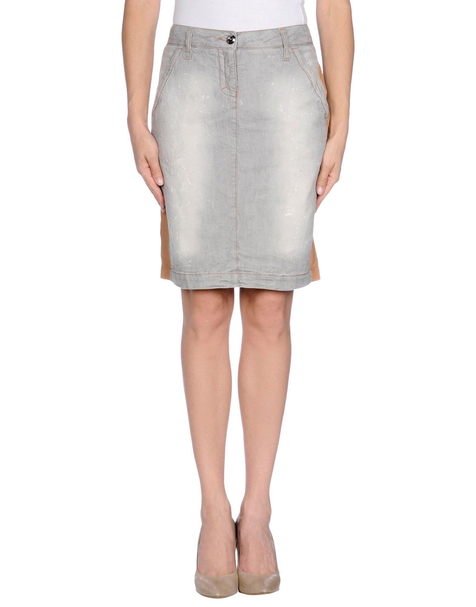 pinko denim skirt in gray light grey lyst