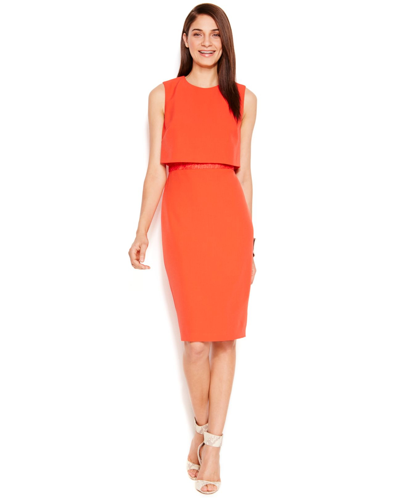 Vince Camuto Popover Lace Detail Sheath Dress In Red Lyst