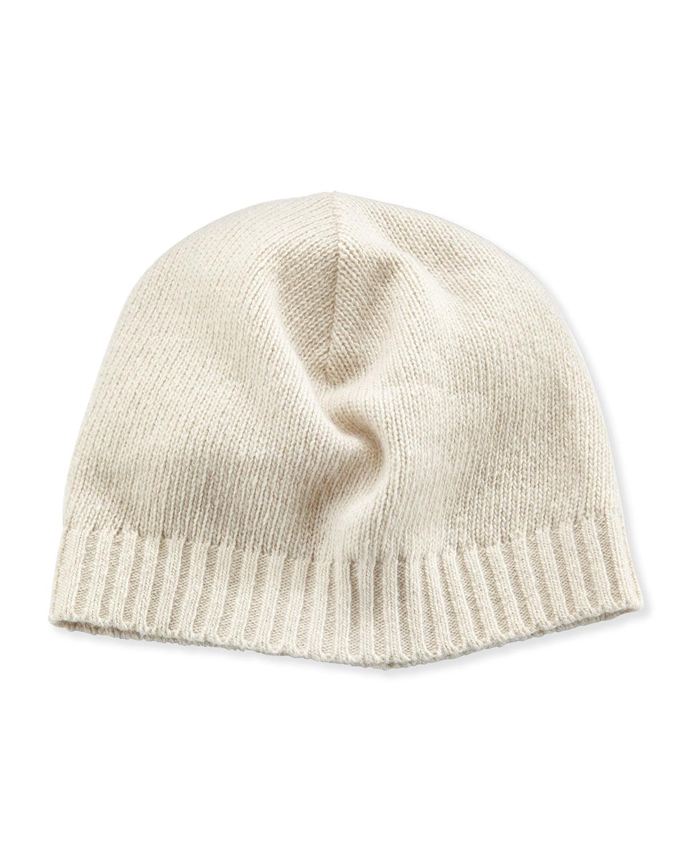 Knitting Pattern For Cashmere Beanie : Portolano Cashmere Basic Knit Beanie Hat in White Lyst