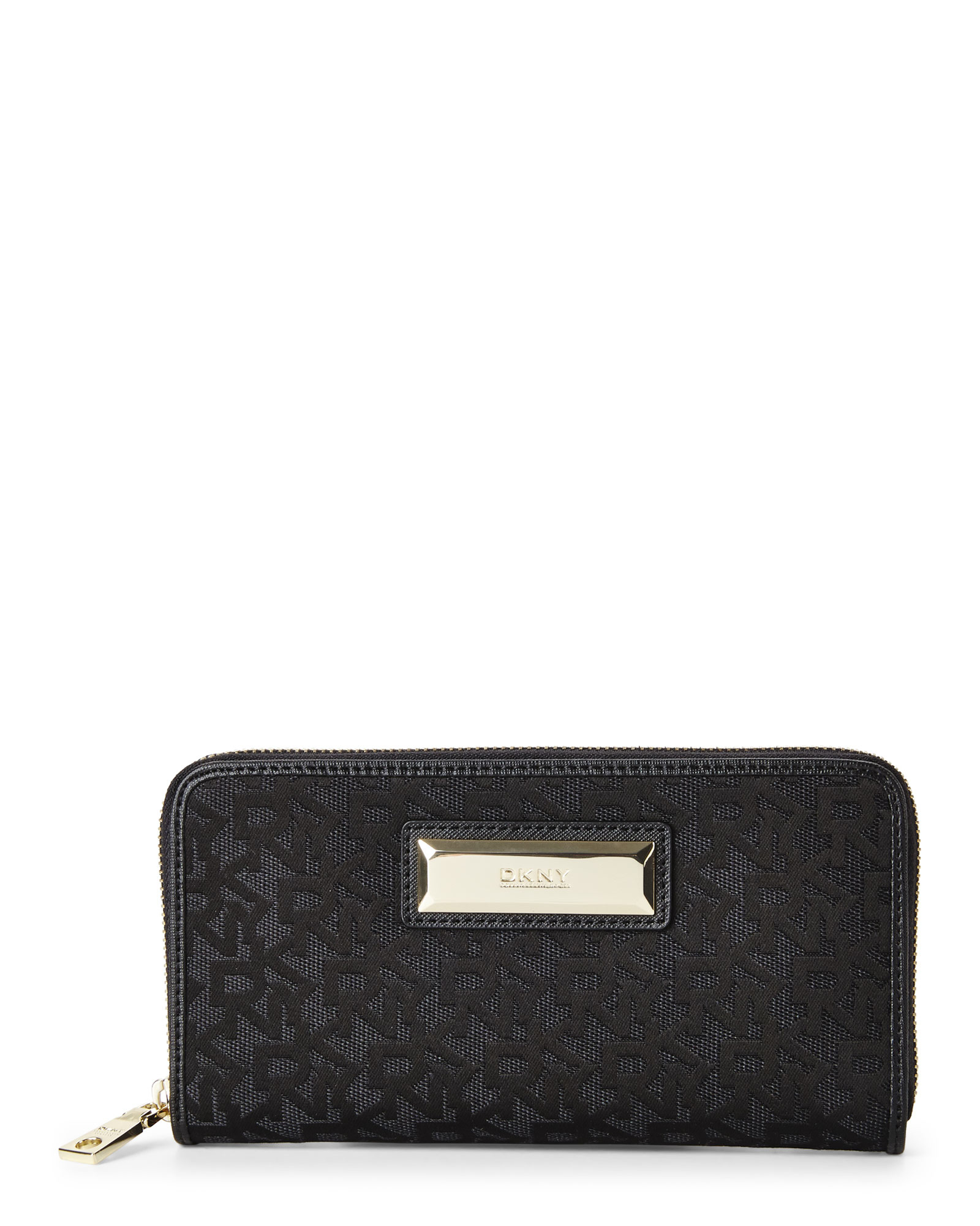 Dkny heritage black large zip around purse