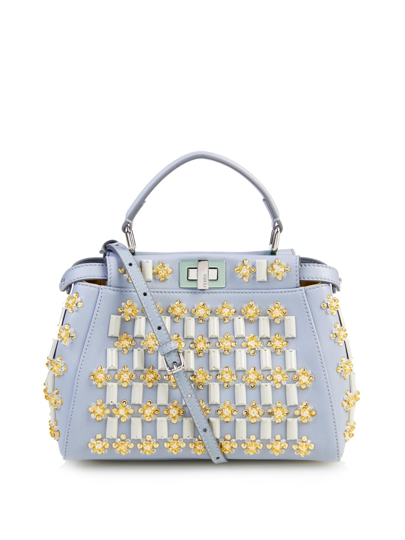 Fendi Mini Peekaboo Floral-Embellishments Cross-Body Bag in Blue - Lyst a942955cdbef9