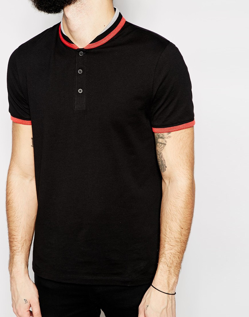 Lyst Asos Polo Shirt With Shawl Collar Tipping In