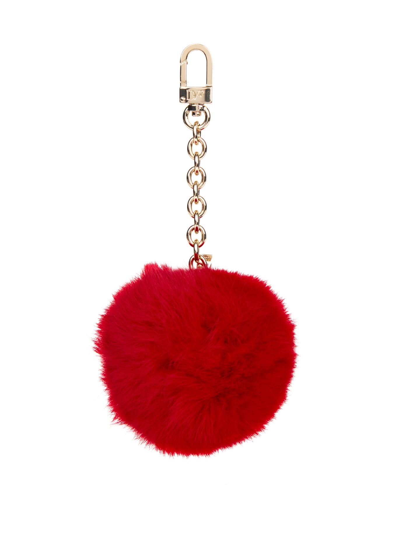 Diane Von Furstenberg Rabbit Fur Pom Pom Keyring In Red Lyst