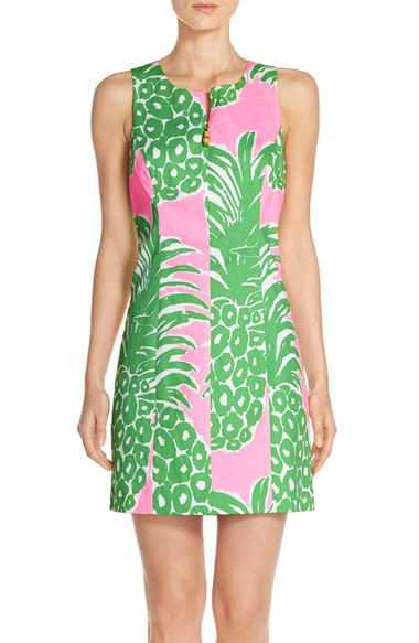 lilly pulitzer 39 mila 39 pineapple print cotton sheath dress in pink lyst. Black Bedroom Furniture Sets. Home Design Ideas