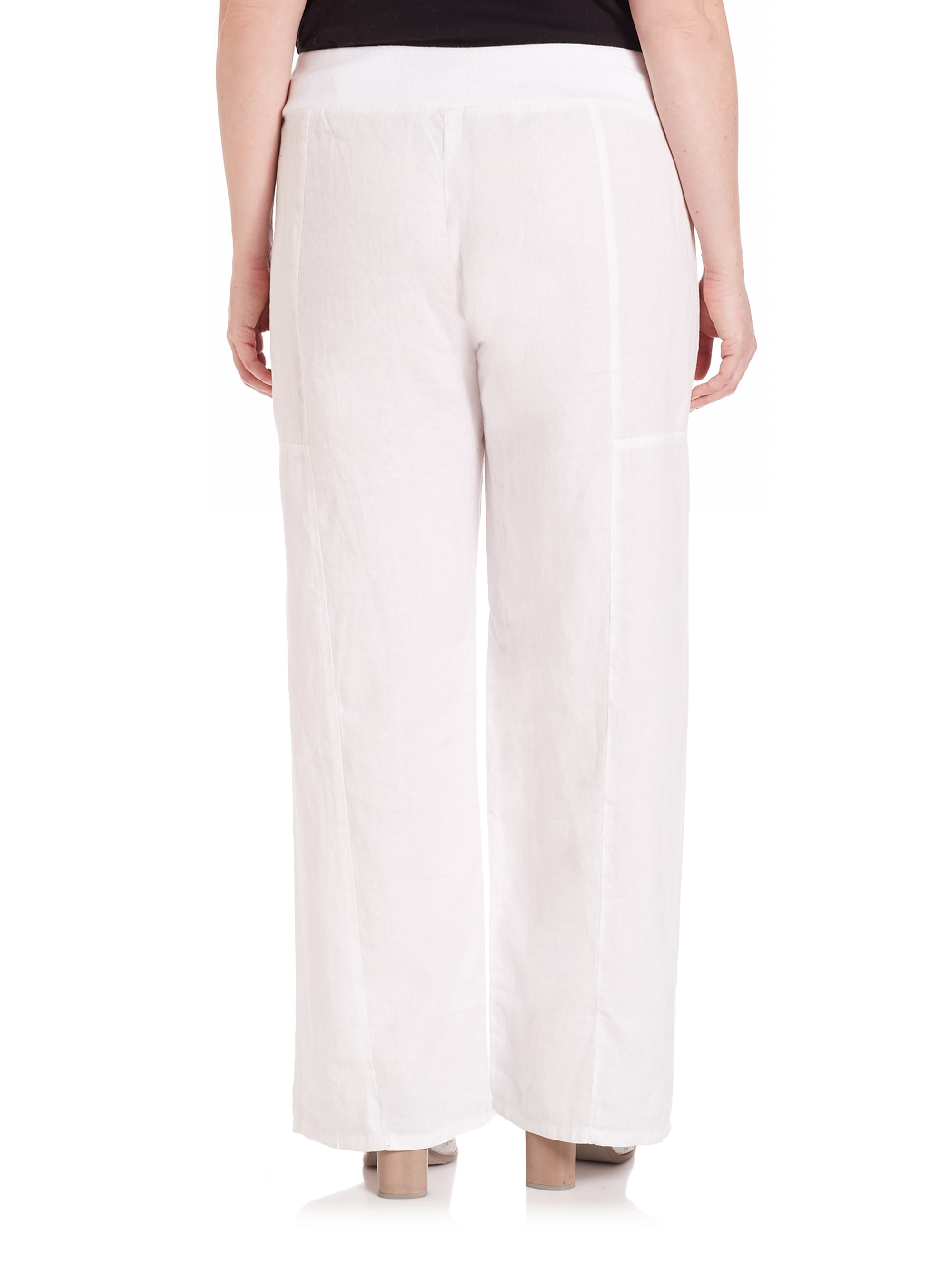 Eileen fisher Linen Wide-leg Pants in White | Lyst