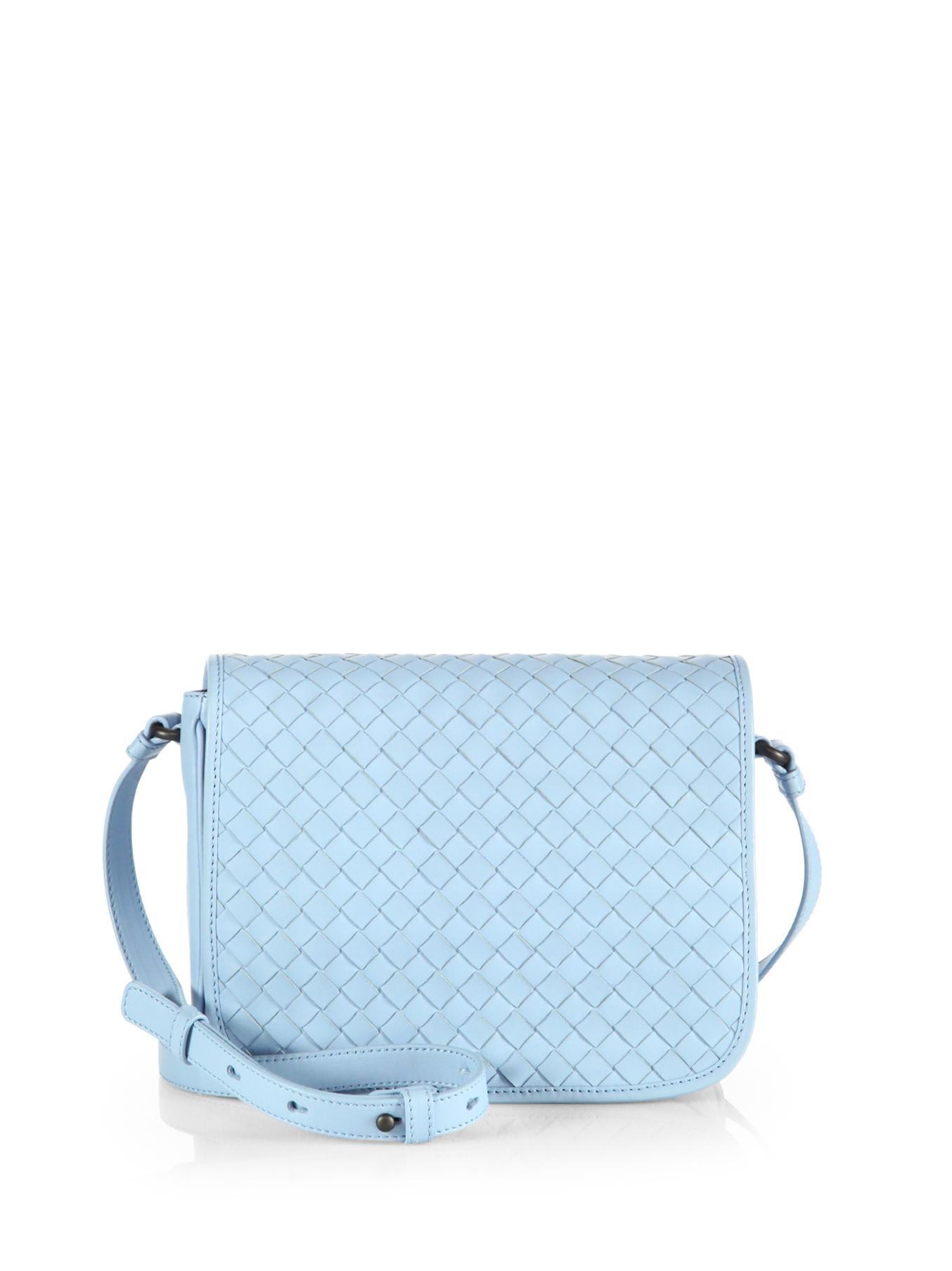 205fc41001 Lyst - Bottega Veneta Small Woven Flap Shoulder Bag in Blue for Men