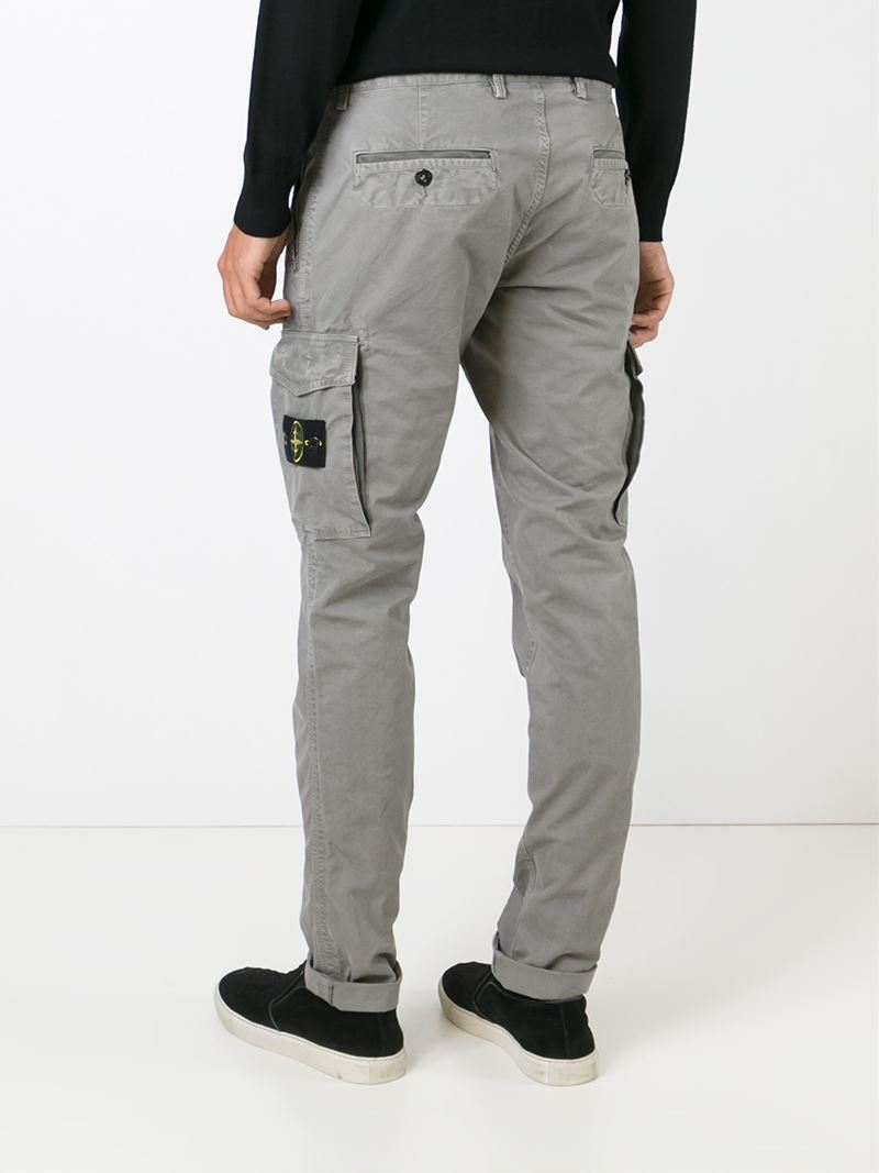 Lyst - Stone Island Slim Fit Cargo Trousers in Gray for Men