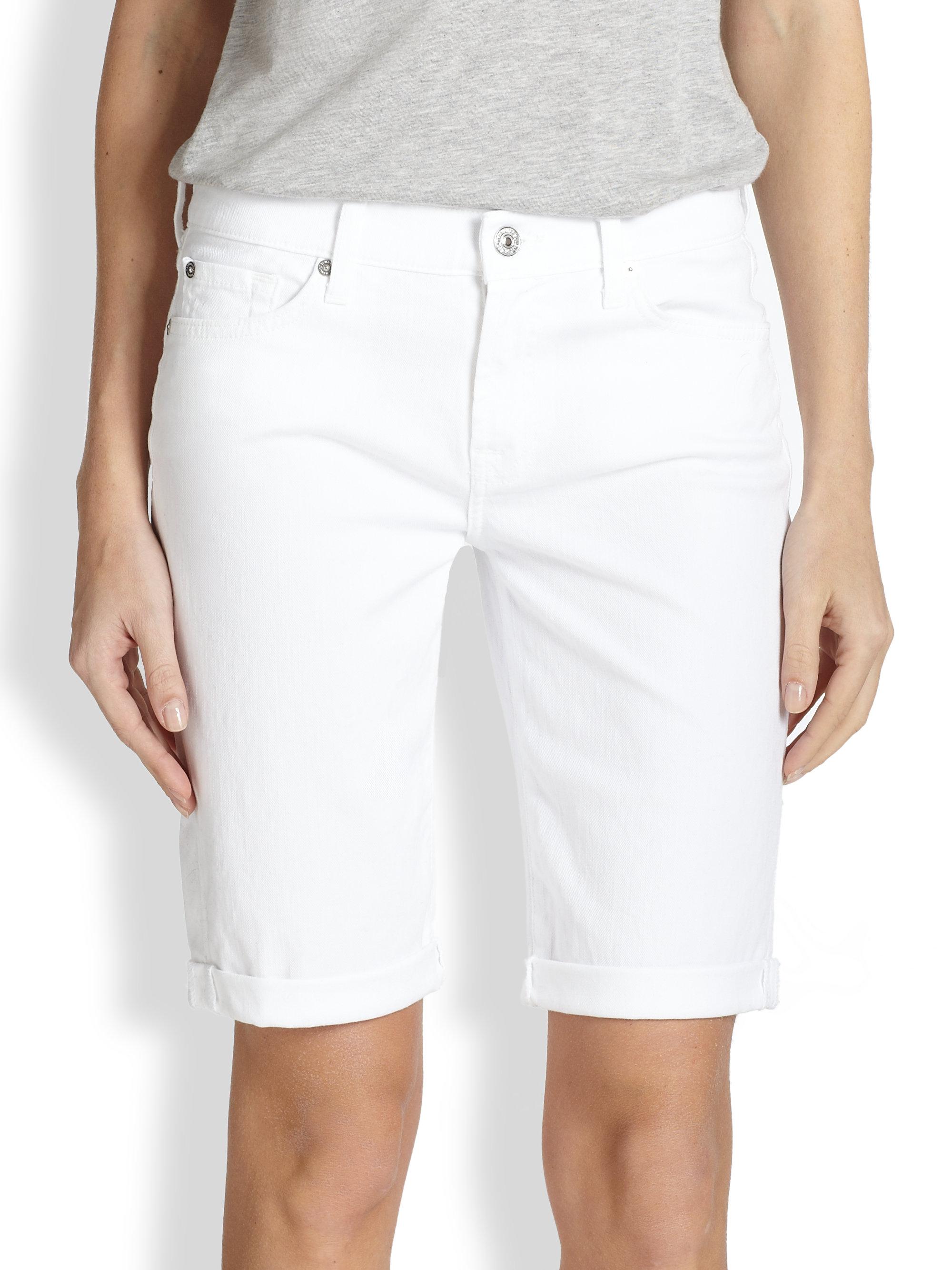 65abb1d9571 7 For All Mankind Stretch Denim Bermuda Shorts in White - Lyst