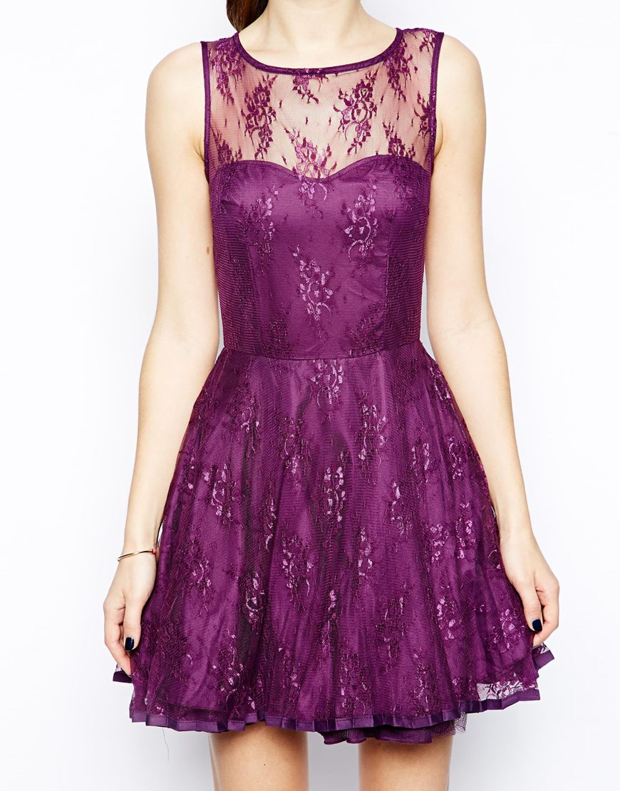 Ax Paris Skater Dress With Lace In Purple Lyst