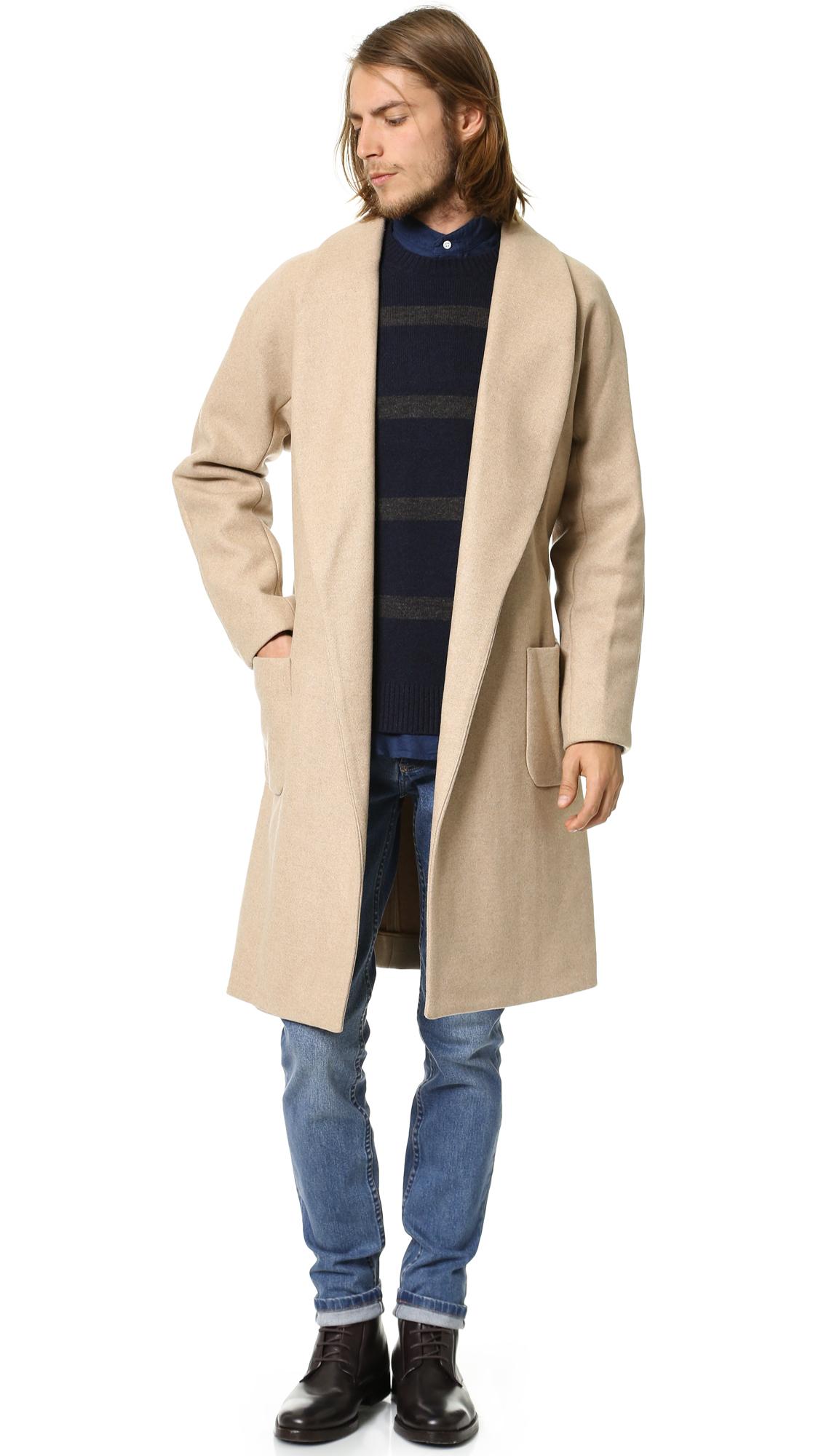 a p c robe coat in natural for men lyst. Black Bedroom Furniture Sets. Home Design Ideas