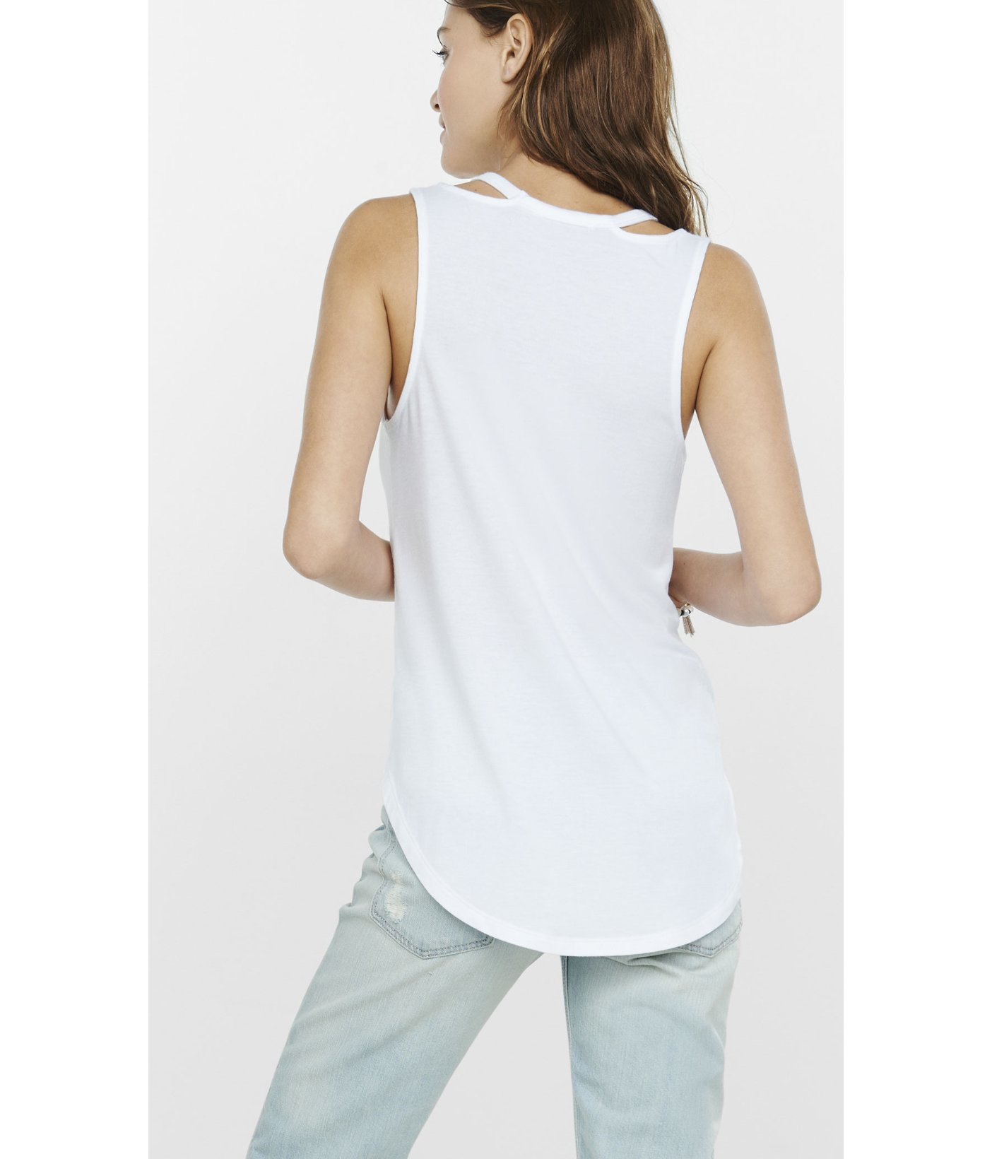 5668ae6f60 Express One Eleven Cut-out V-neck Tank in White - Lyst