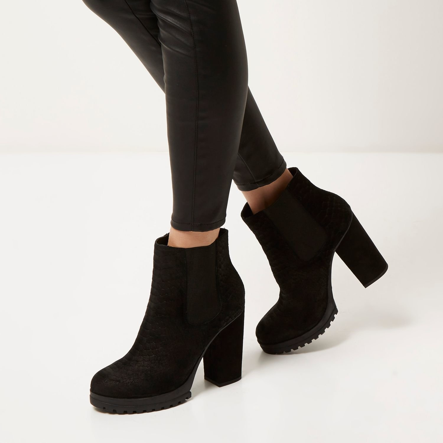 River island Black Suede Heeled Ankle Boots in Black | Lyst