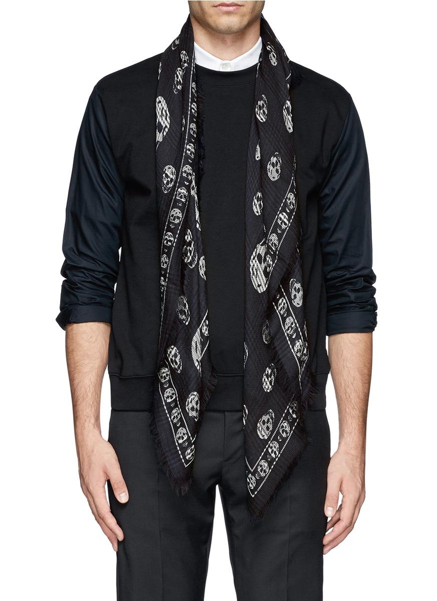 mcqueen tartan skull silk wool scarf in black