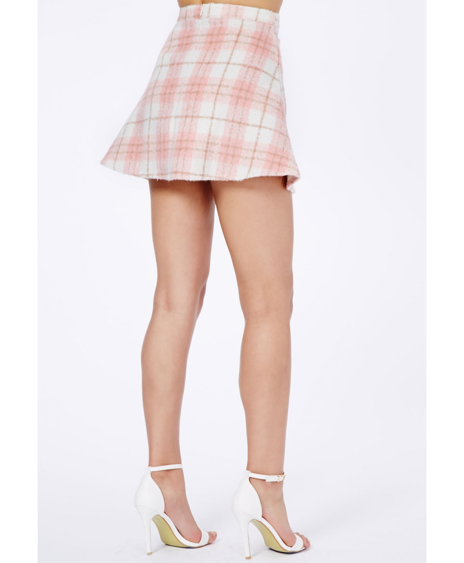 Missguided Marlee Tartan A-Line Skirt In Baby Pink in Pink | Lyst