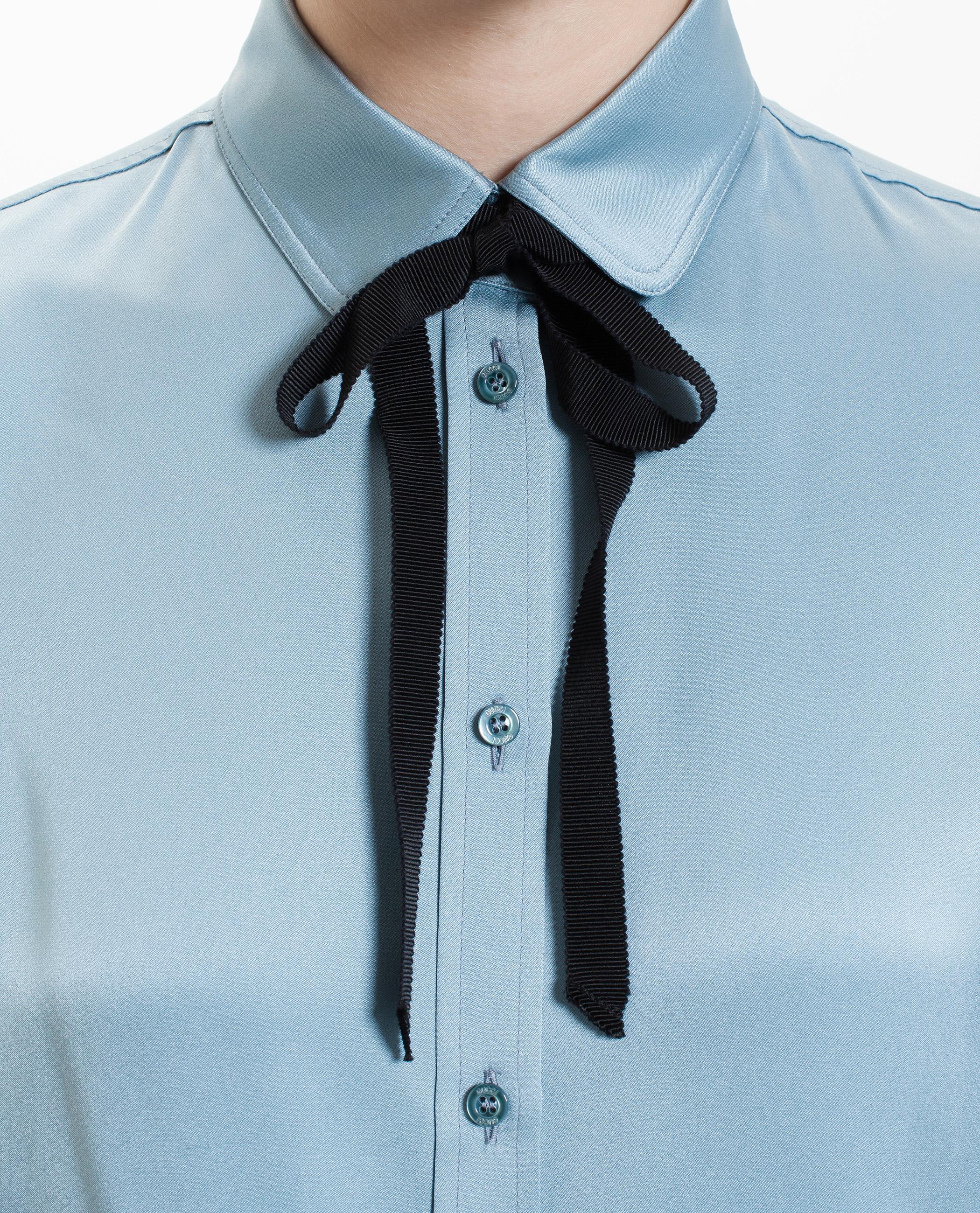 308d1636ad78d3 Lyst - Gucci Silk Shirt With Necktie in Blue