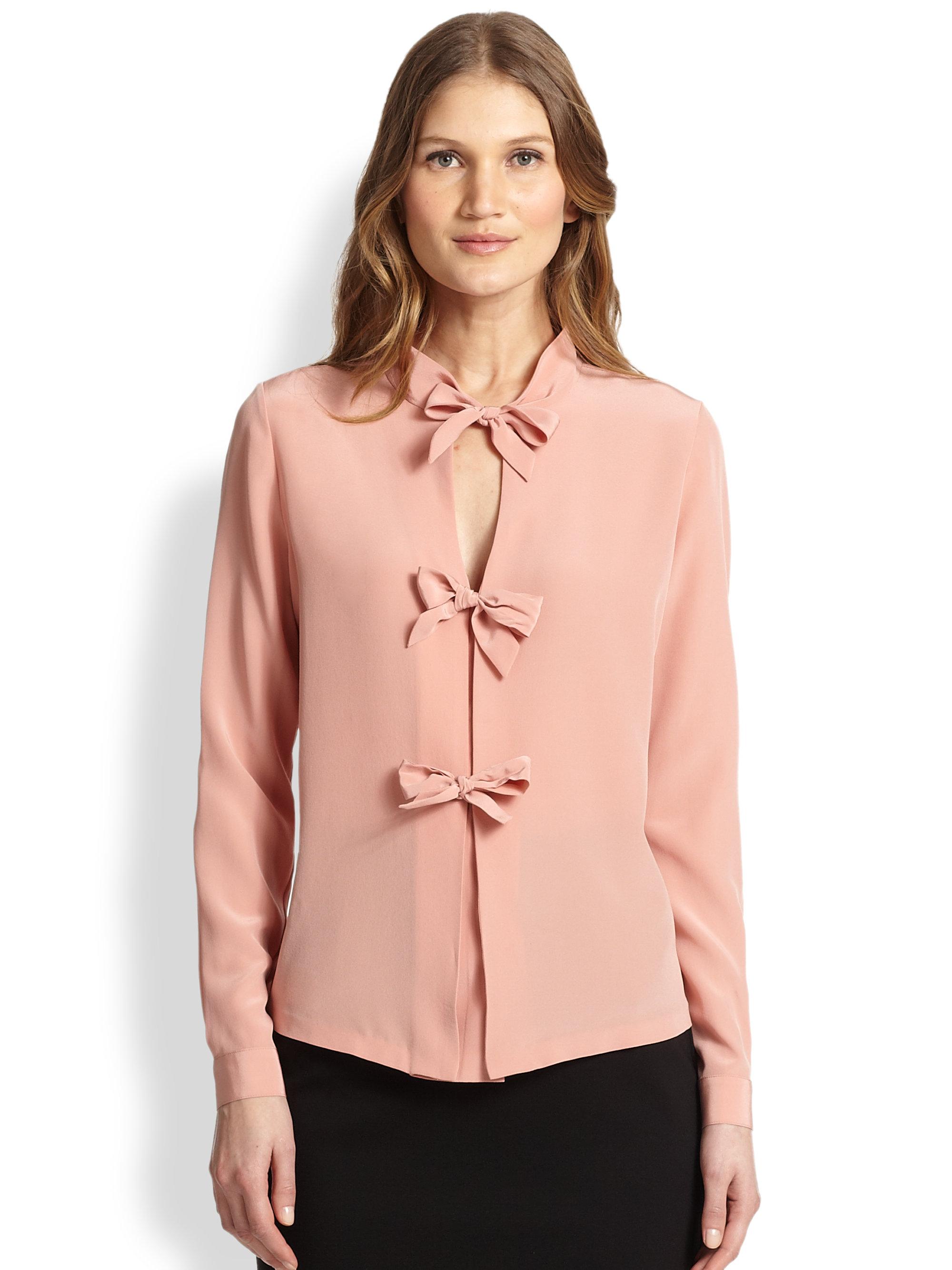 7da369460fd5f6 Lyst - Raoul Silk Bow Tie Blouse in Pink