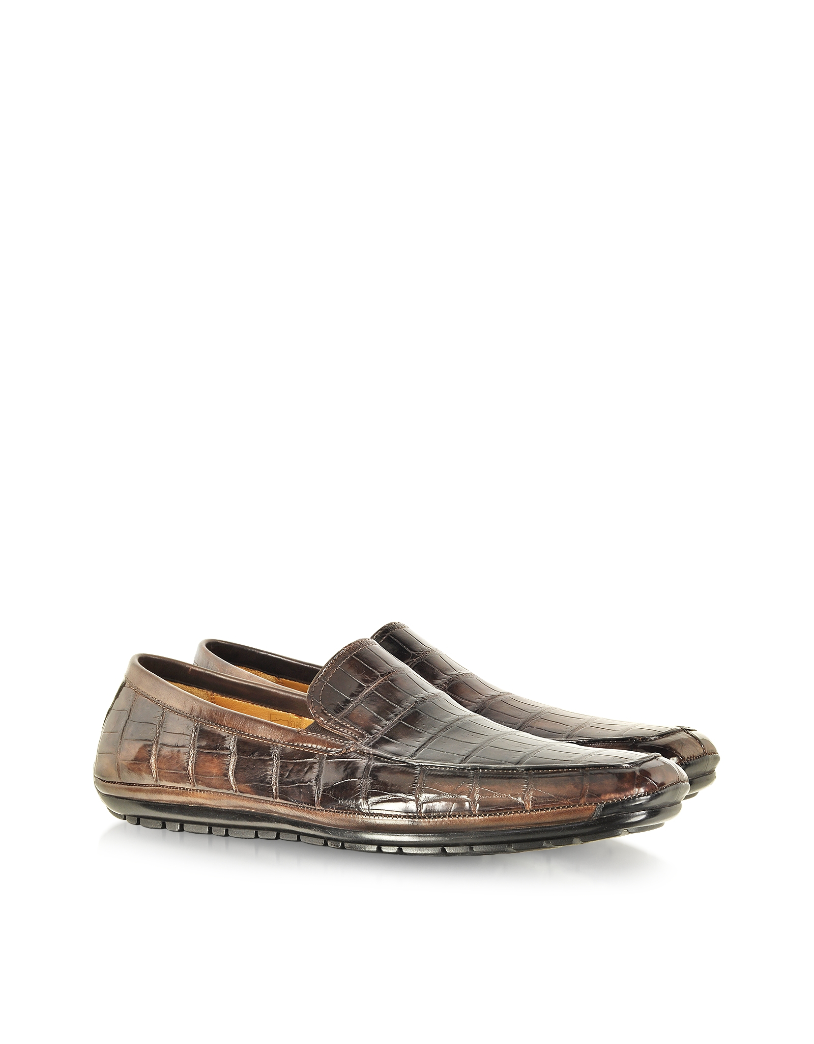 Pakerson Coffee Alligator Loafers In Gray For Men Lyst