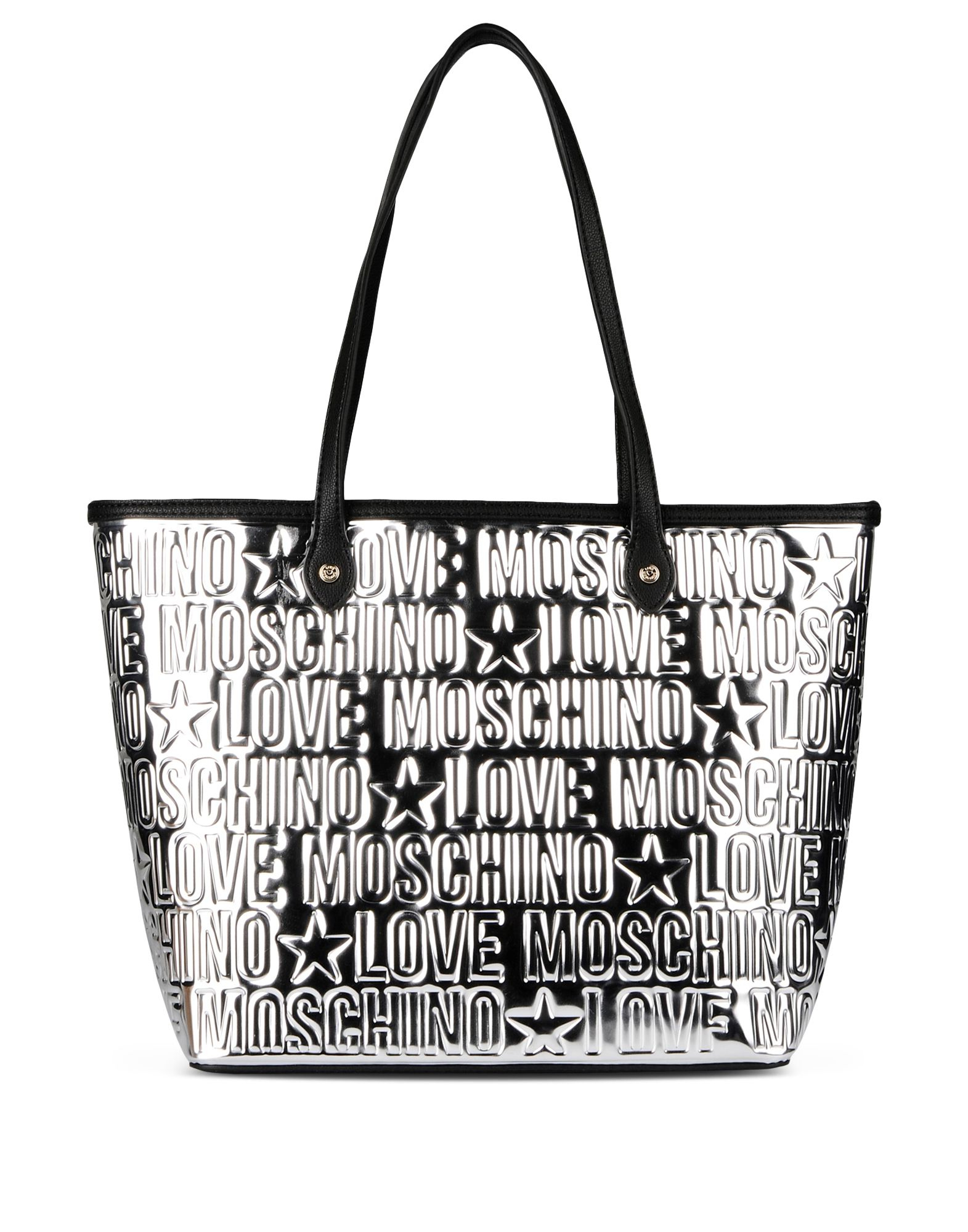 lyst love moschino large fabric bag in metallic. Black Bedroom Furniture Sets. Home Design Ideas
