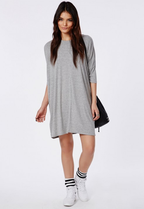 177234724f9 Lyst - Missguided Oversized T-Shirt Dress Light Grey Marl in Gray