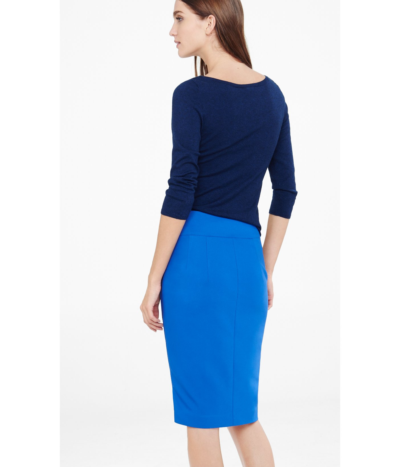 04cbdac12fa4d Lyst - Express Blue High Waisted Side Zip Midi Skirt in Blue