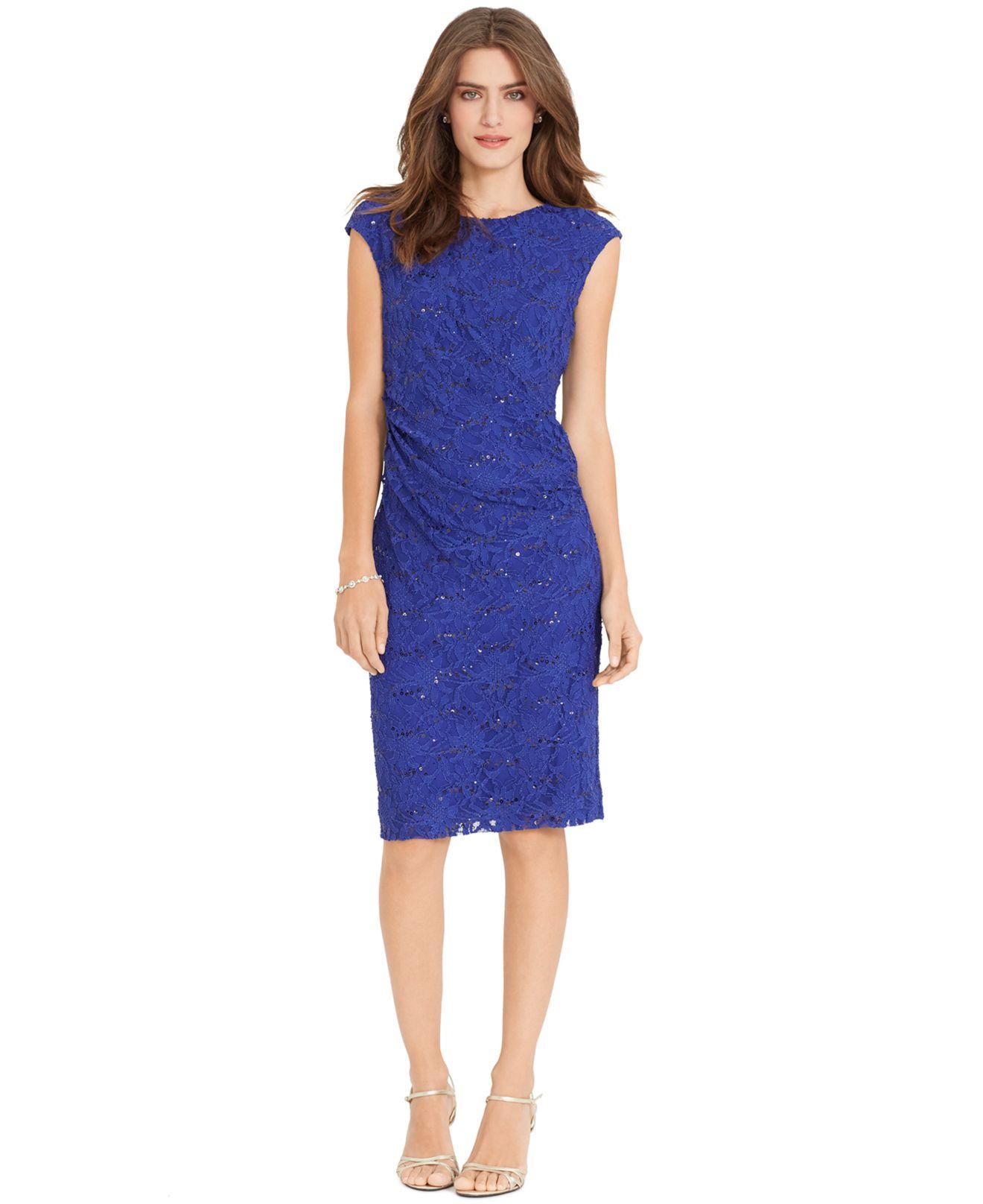 lyst lauren by ralph lauren sequined lace sheath dress