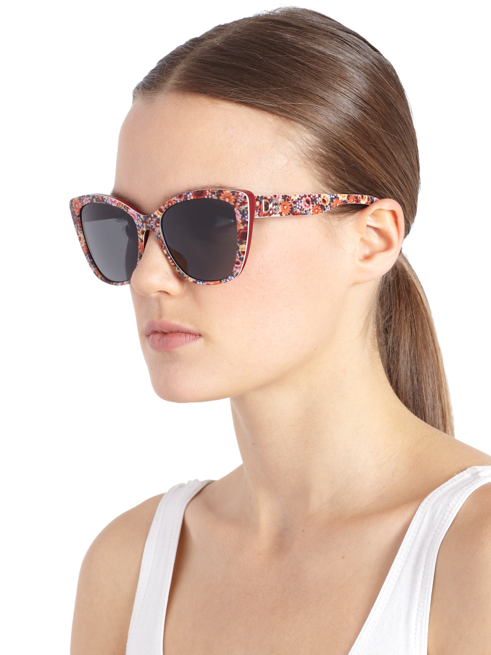 bb74581d17f Lyst - Dolce   Gabbana Floral-Printed Modified Cat S-Eye Sunglasses ...