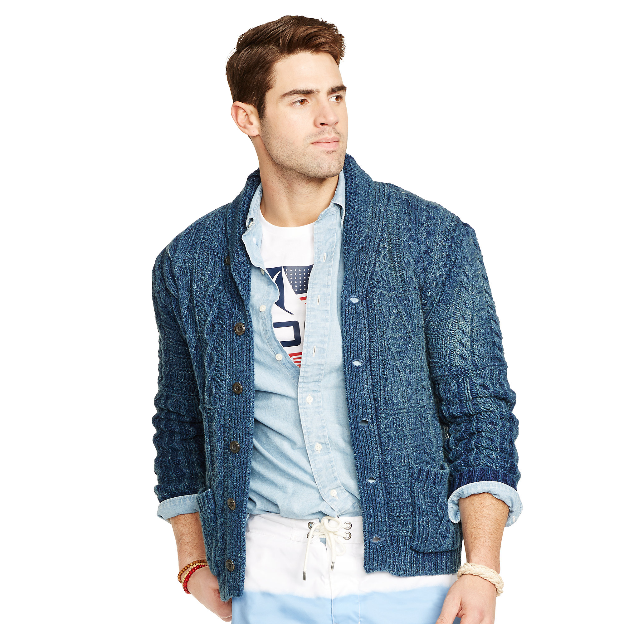 b81d53f48 ... uk lyst polo ralph lauren indigo cotton shawl cardigan in blue for men  bf2e4 fda59