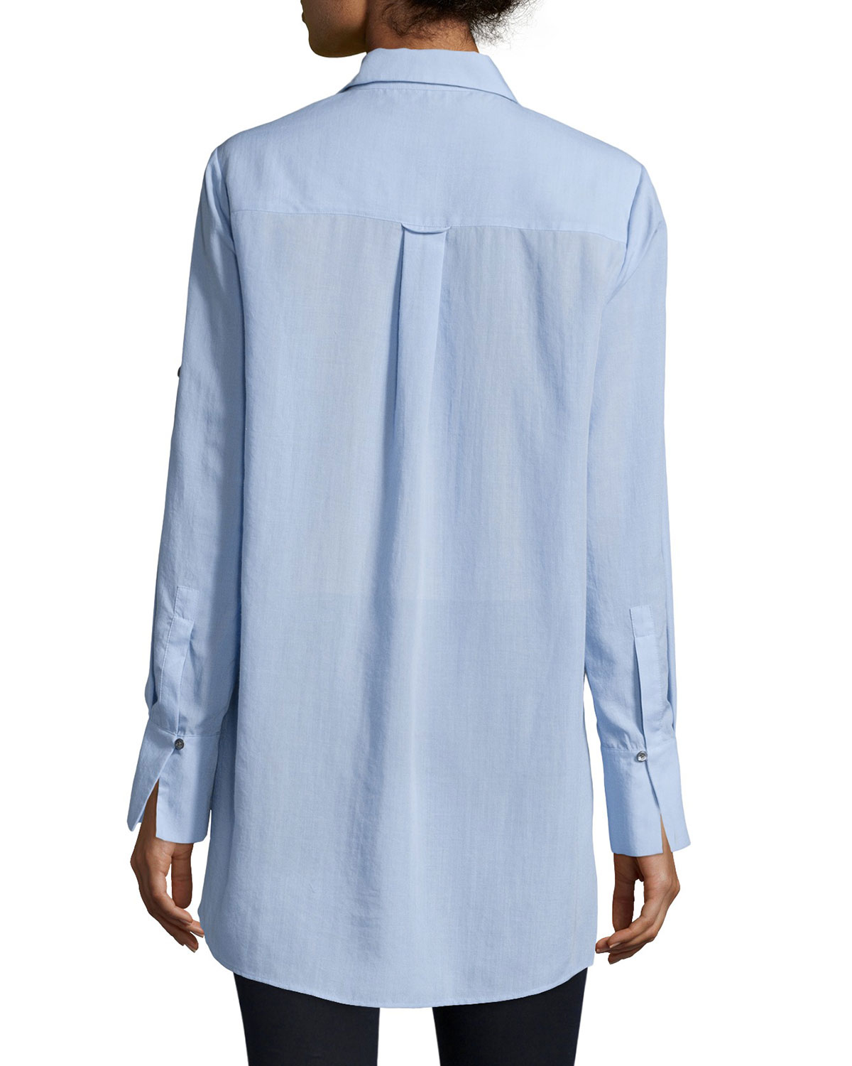 Lyst Halston Long Sleeve Button Front Top In Blue