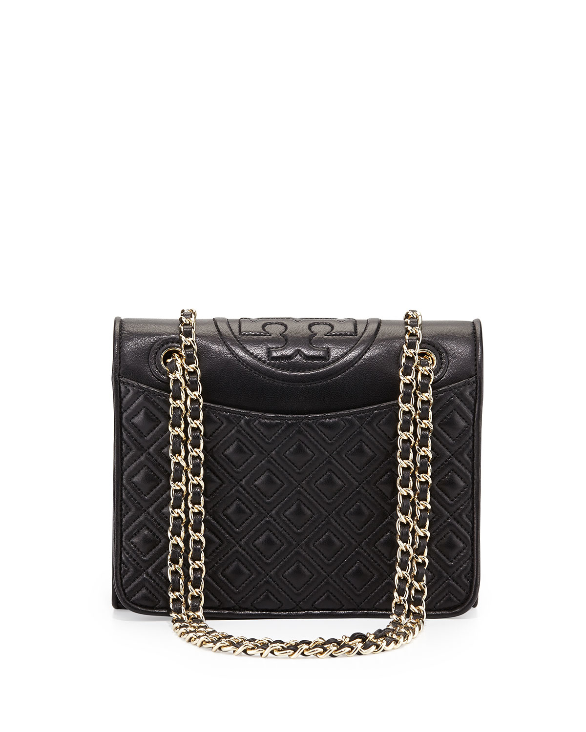 462119e5b2dc Lyst - Tory Burch Fleming Medium Quilted Shoulder Bag in Black