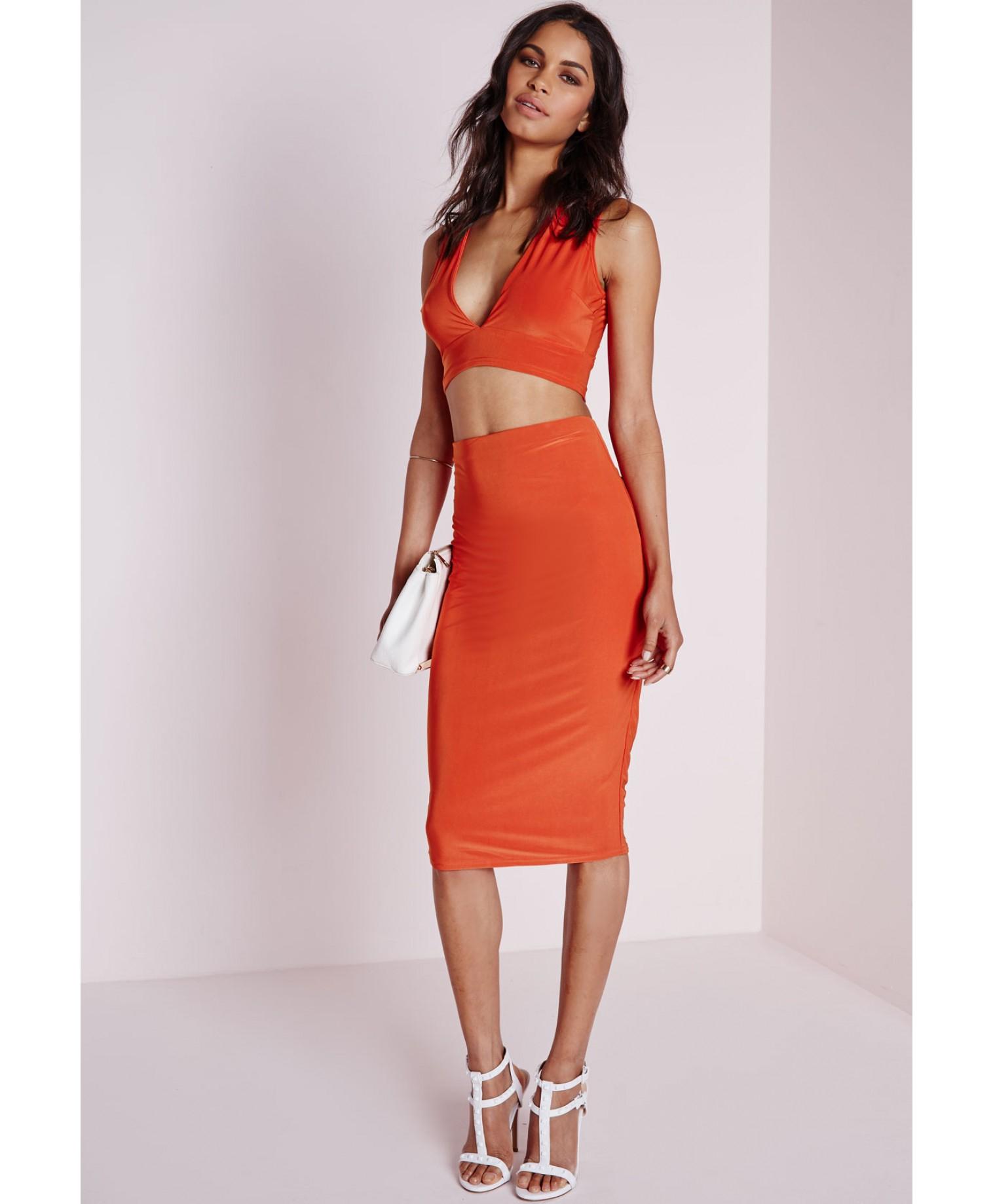 missguided ruched back slinky midi skirt orange in orange