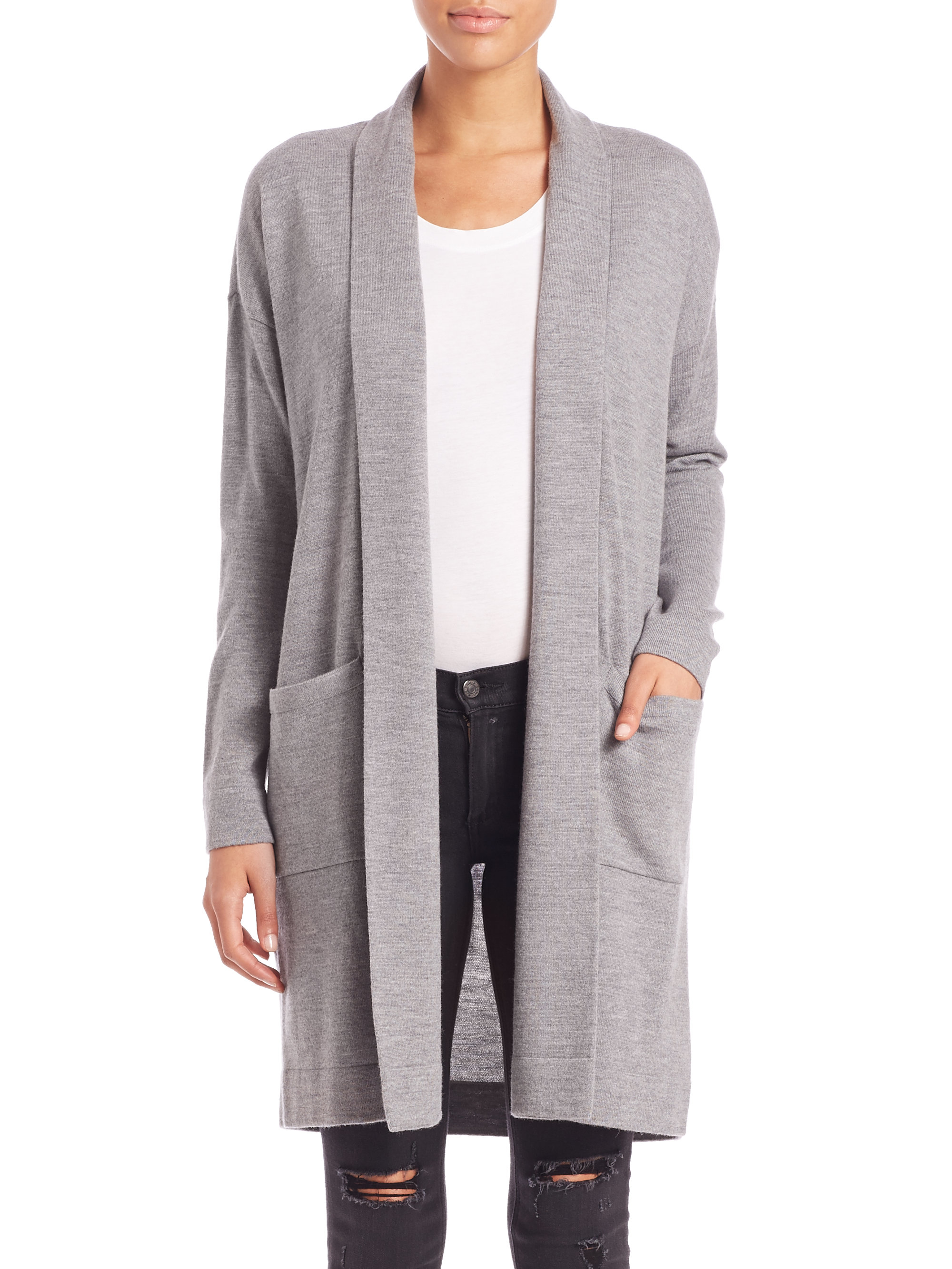Bcbgmaxazria Long Open-front Cardigan in Gray | Lyst