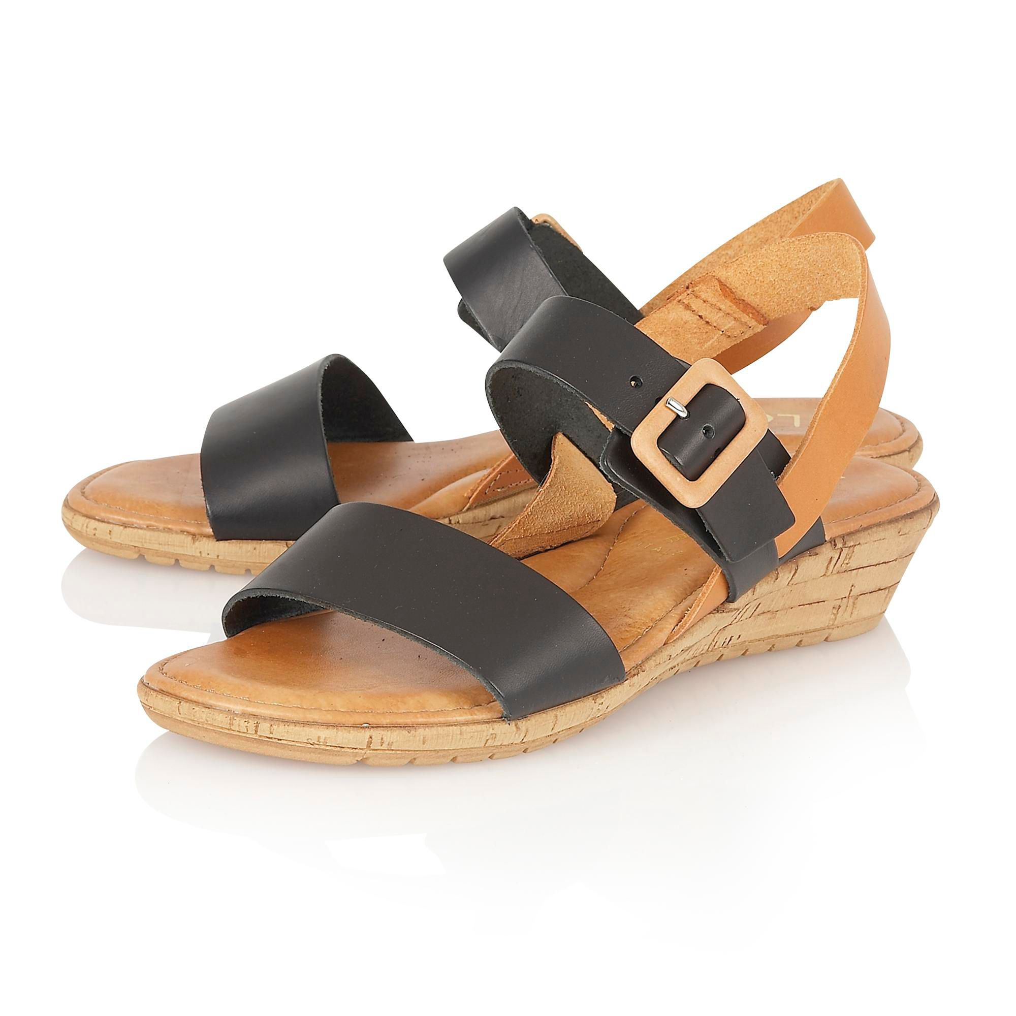 lotus banos open toe sandals in black lyst