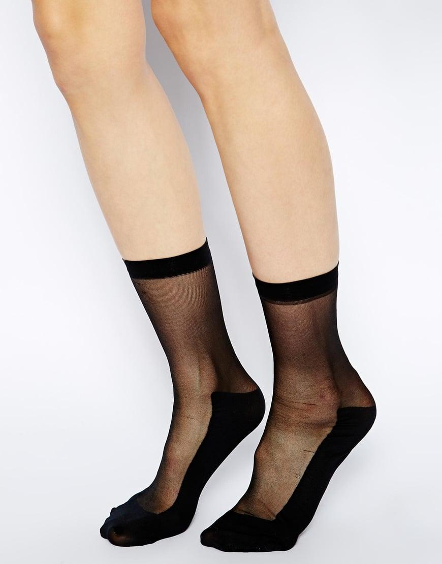 9fc01b5aa ASOS Sheer Panel Ankle Socks in Black - Lyst