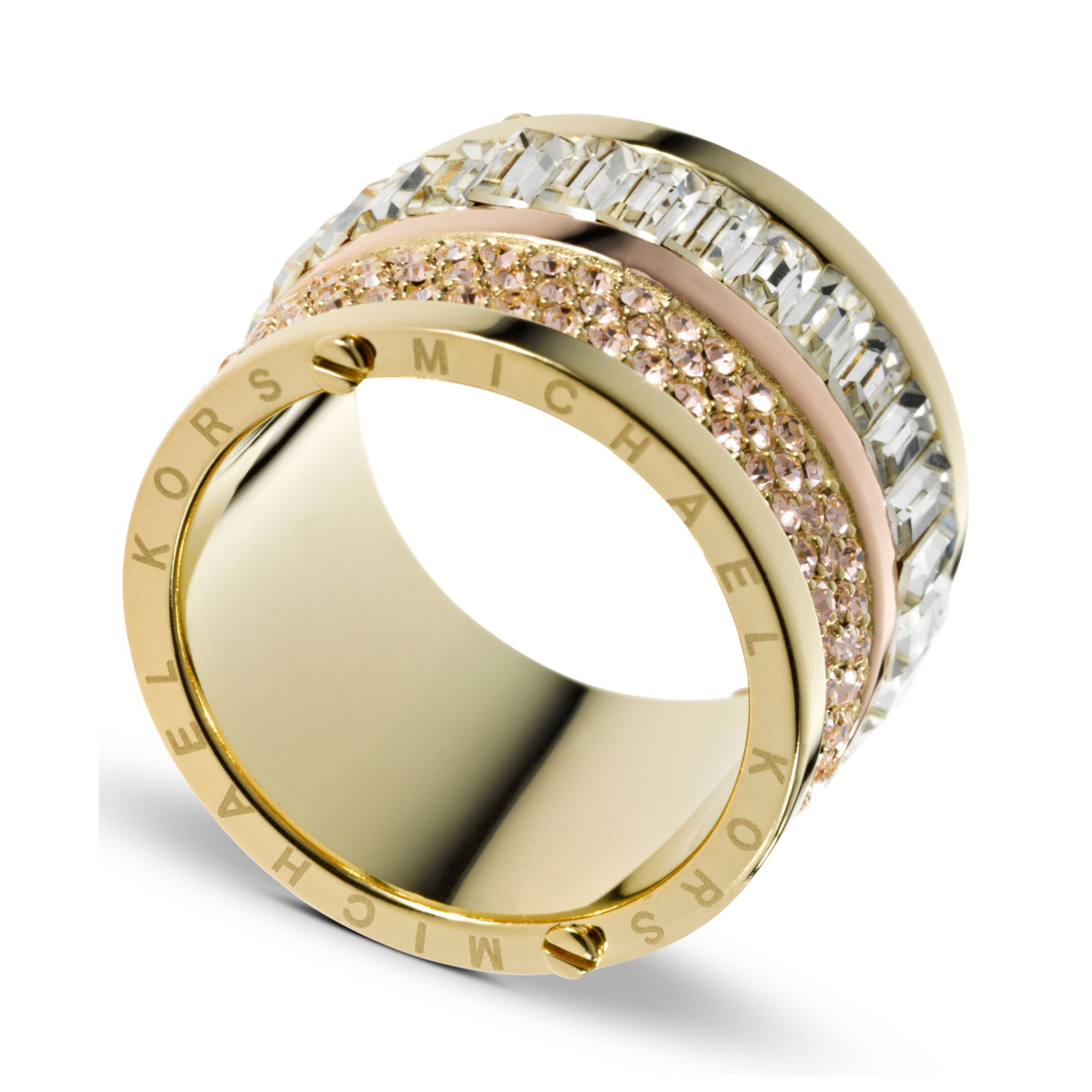 michael kors gold tone pave and stone barrel ring in gold. Black Bedroom Furniture Sets. Home Design Ideas