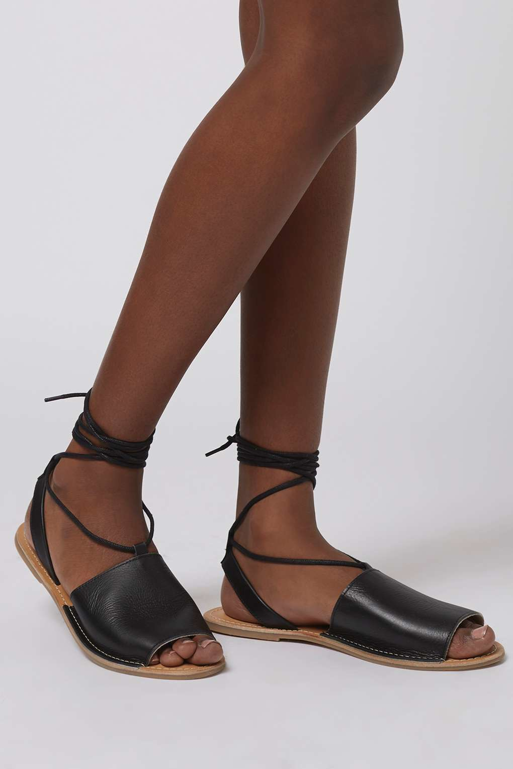 Lyst Topshop Holly Ankle Tie Sandals In Black