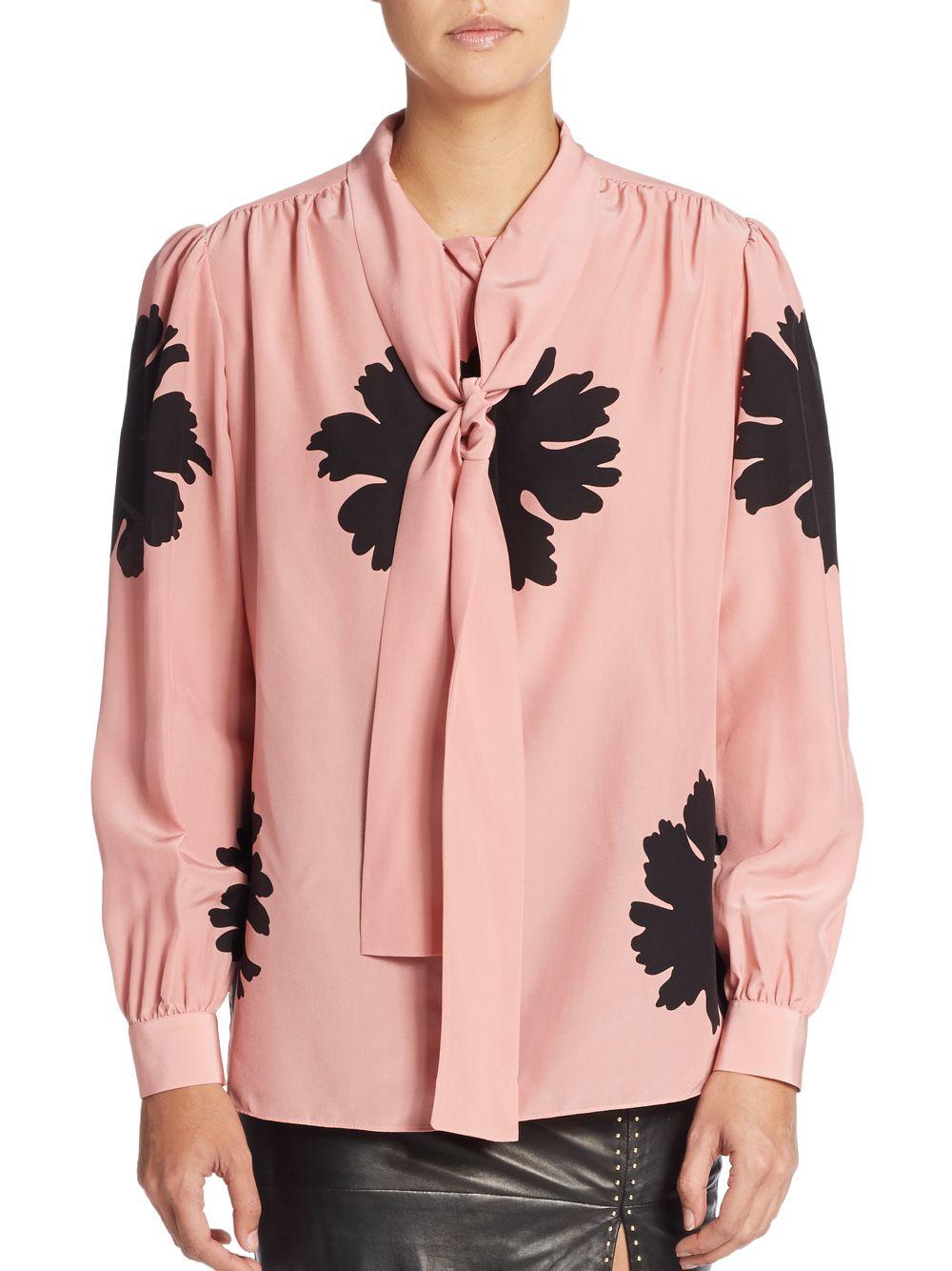 Lyst Alexander Mcqueen Silk Floral Tie Neck Blouse In Pink