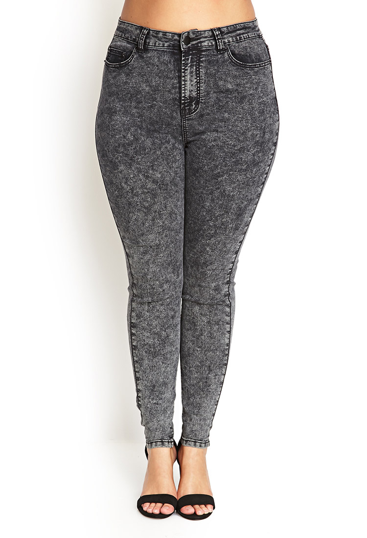 Forever 21 Plus Size High-waisted Acid Wash Jeans in Black | Lyst