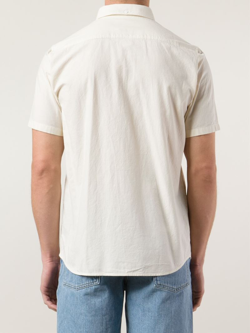 Lyst norse projects short sleeve button down shirt in for White short sleeve button down shirts for men